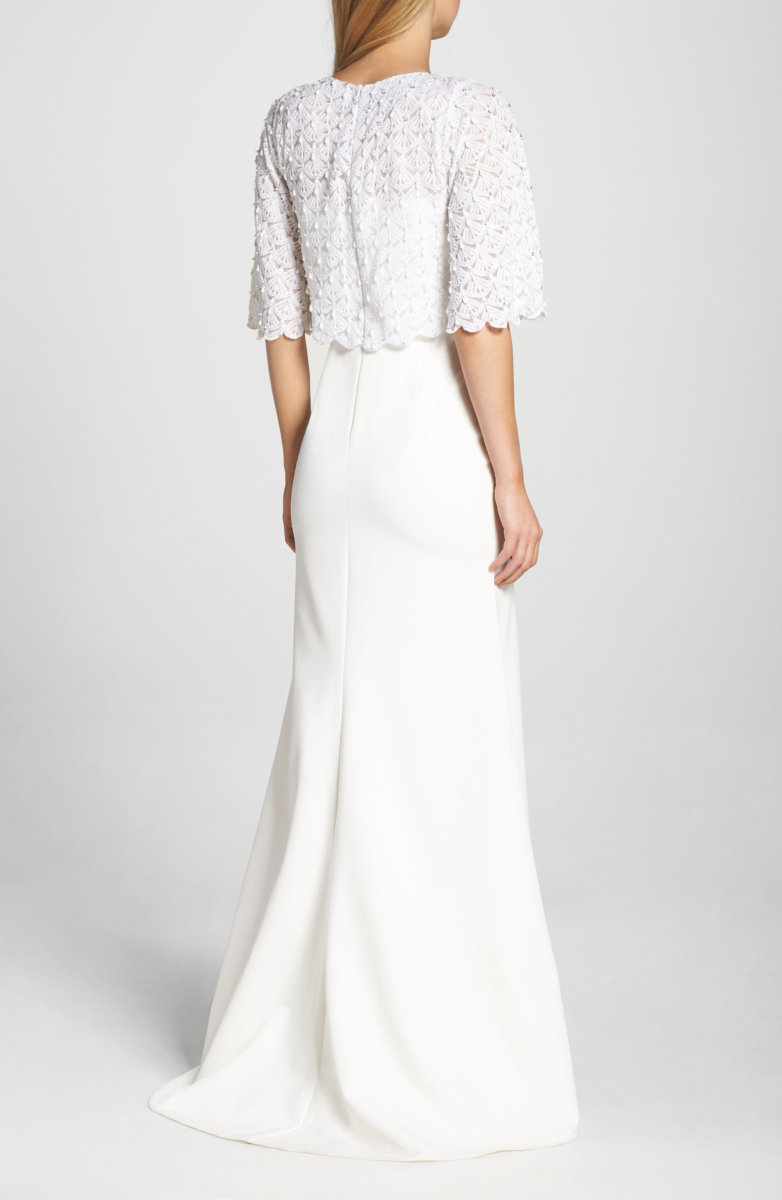 Elbow Sleeve Lace Overlay Gown,                             Alternate thumbnail 2, color,                             Cream