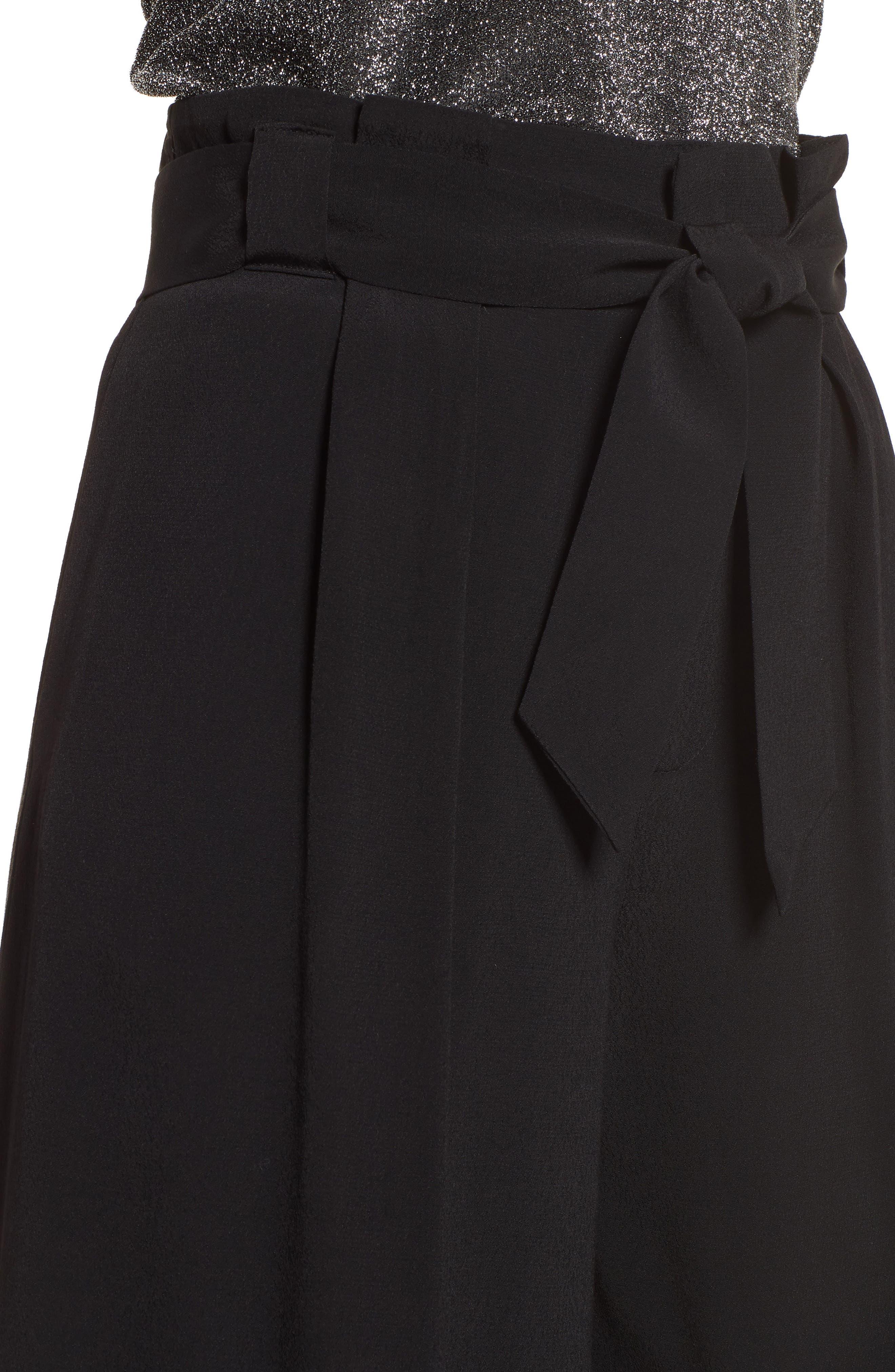 Paperbag Waist Culottes,                             Alternate thumbnail 4, color,                             Black