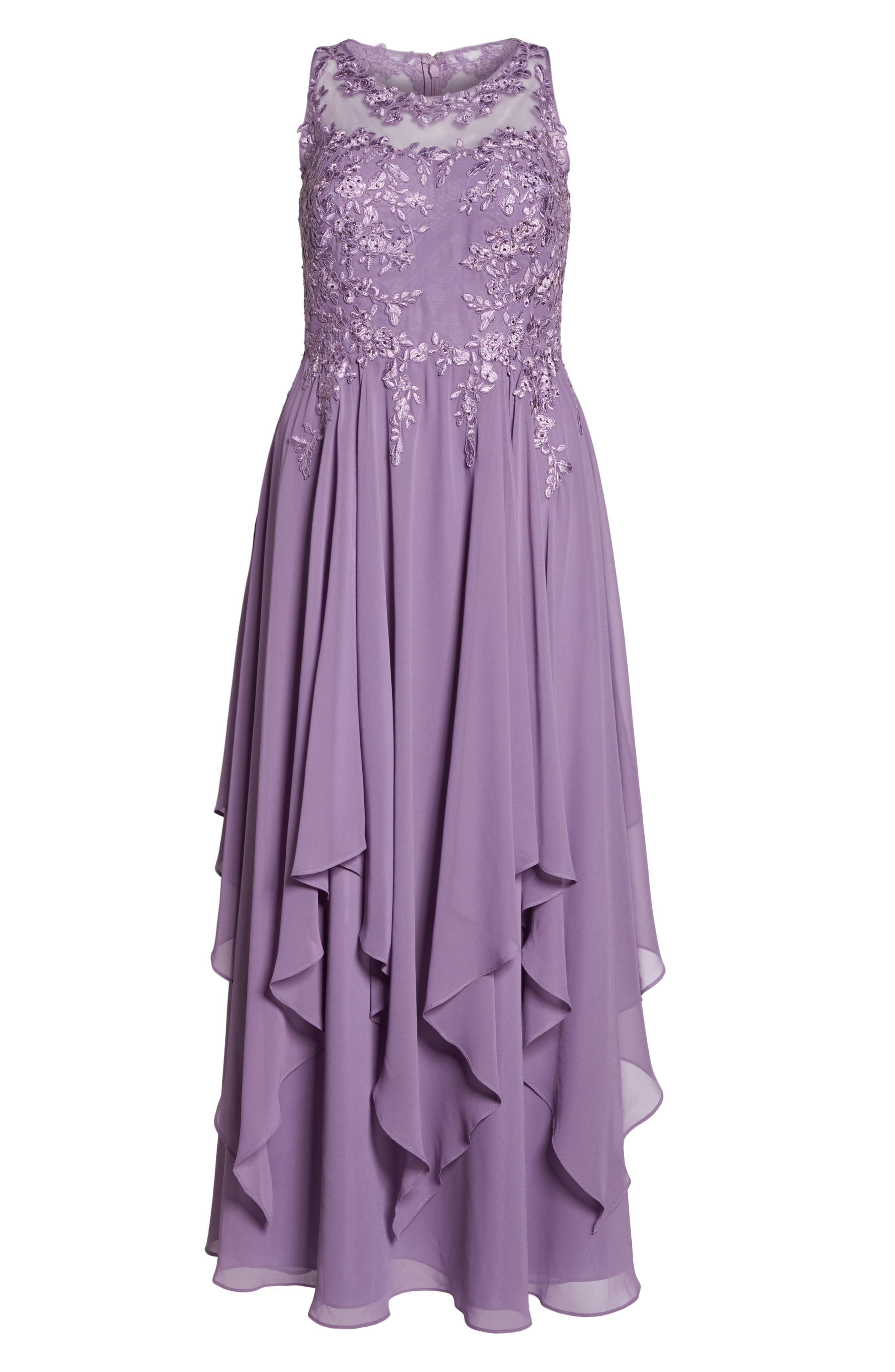 Embroidered Handkerchief Hem Gown,                             Alternate thumbnail 6, color,                             Lavender