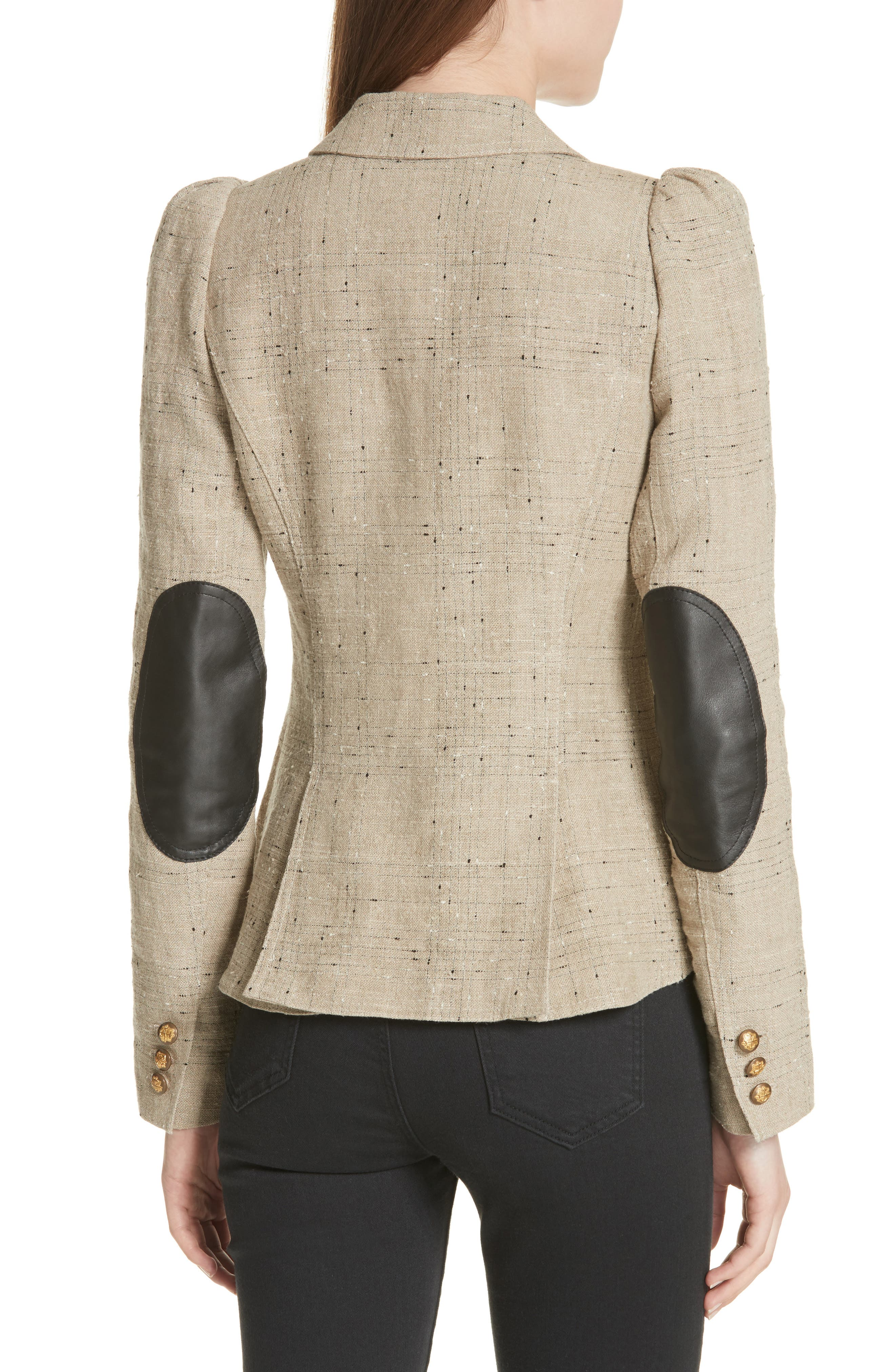 Leather Elbow Patch Linen Blend Blazer,                             Alternate thumbnail 2, color,                             Stone W/ Black Leather