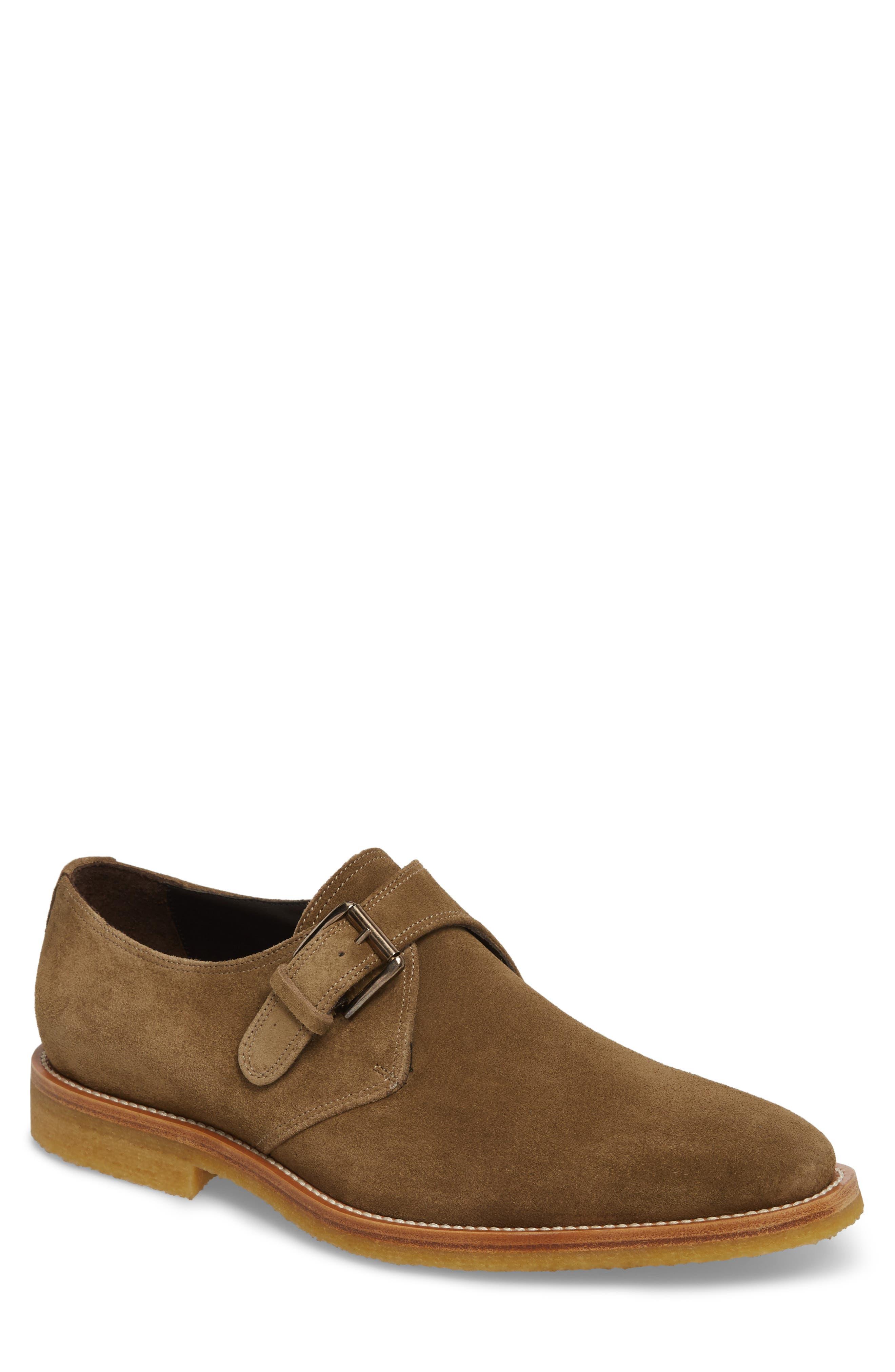 Baldwin Plain Toe Monk Shoe,                         Main,                         color, Taupe Suede