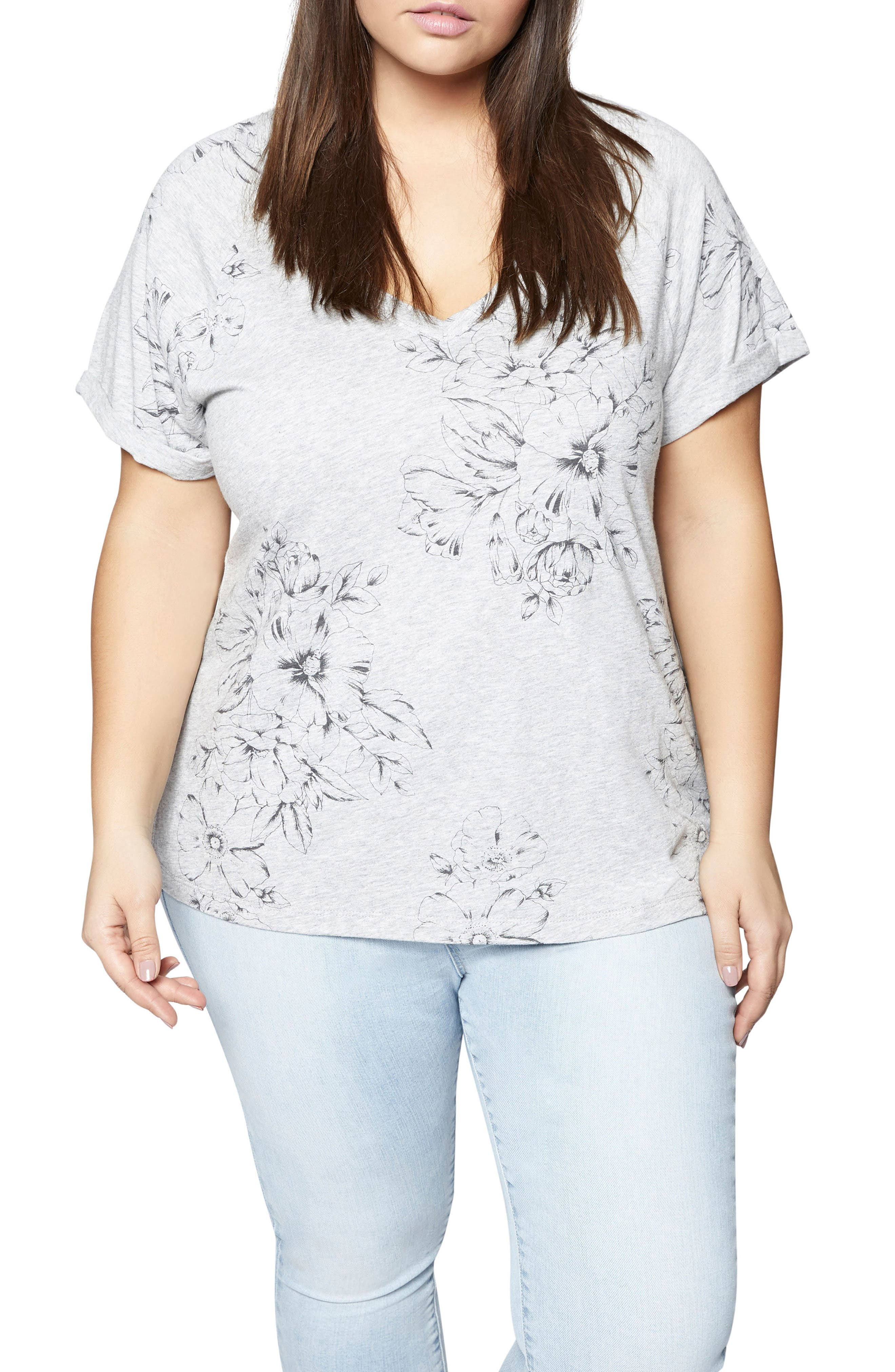 Hibiscus V-Neck Tee,                         Main,                         color, Heather Grey