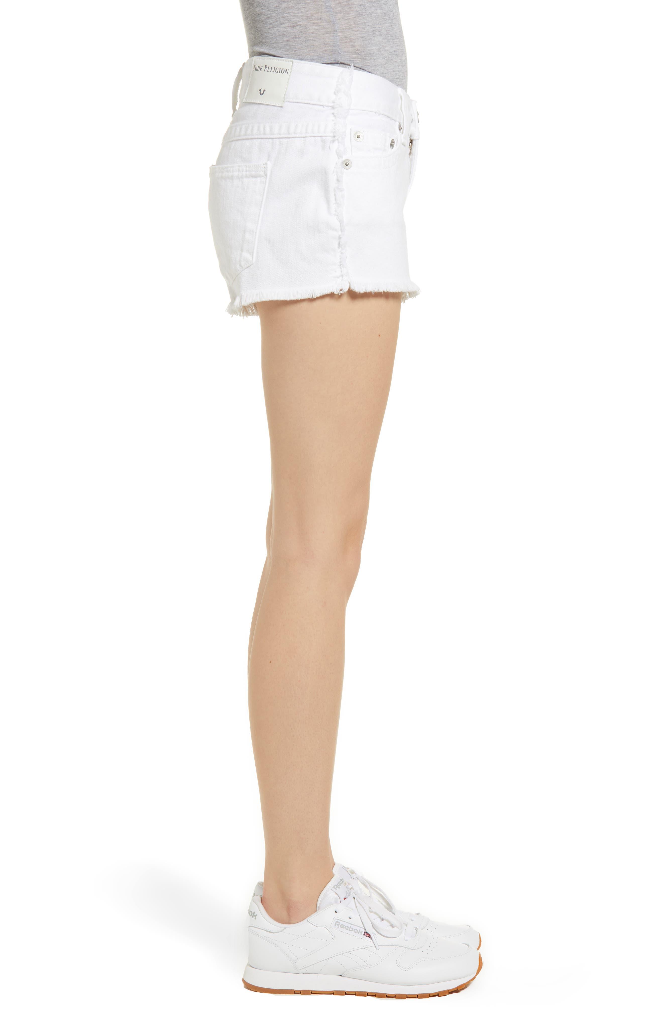 Kieras Cutoff Denim Shorts,                             Alternate thumbnail 3, color,                             Eucd Optic White