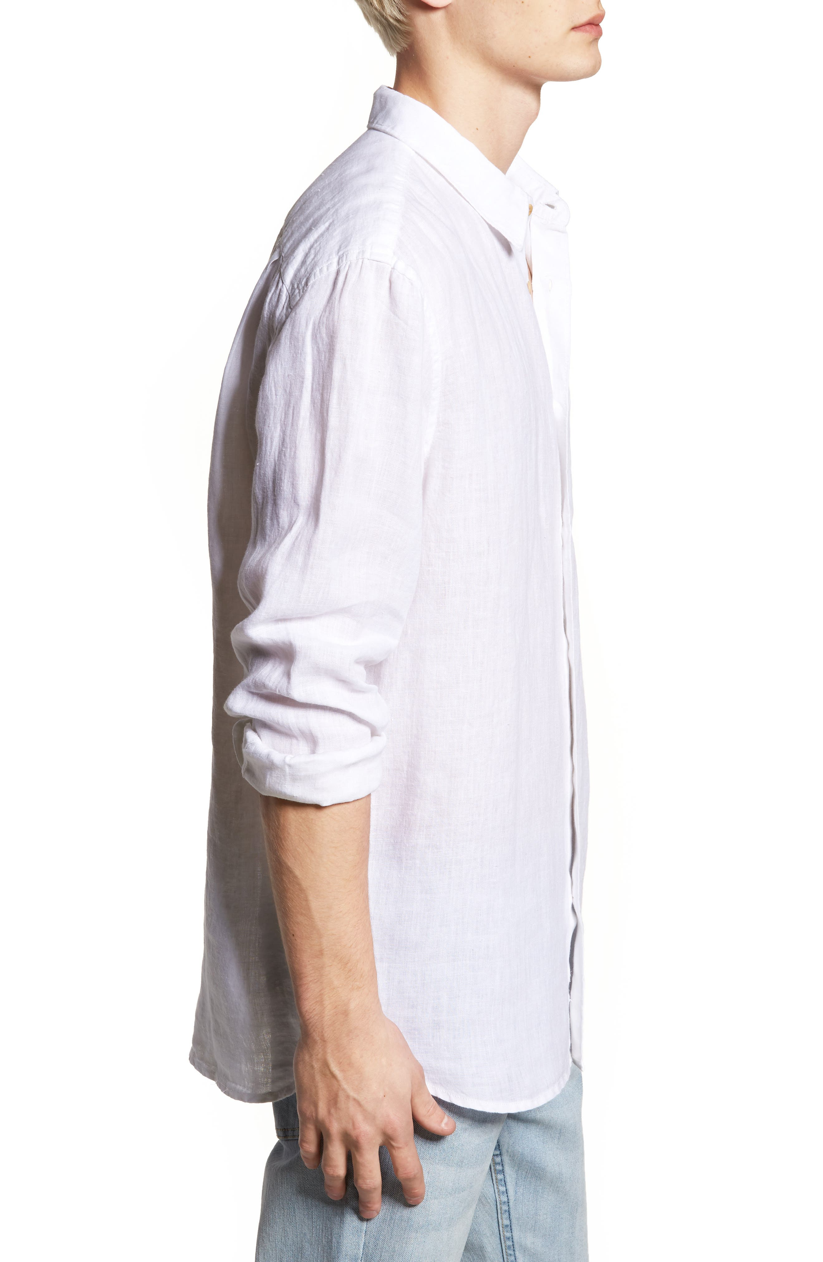 Relaxed Fit Solid Linen Sport Shirt,                             Alternate thumbnail 3, color,                             White