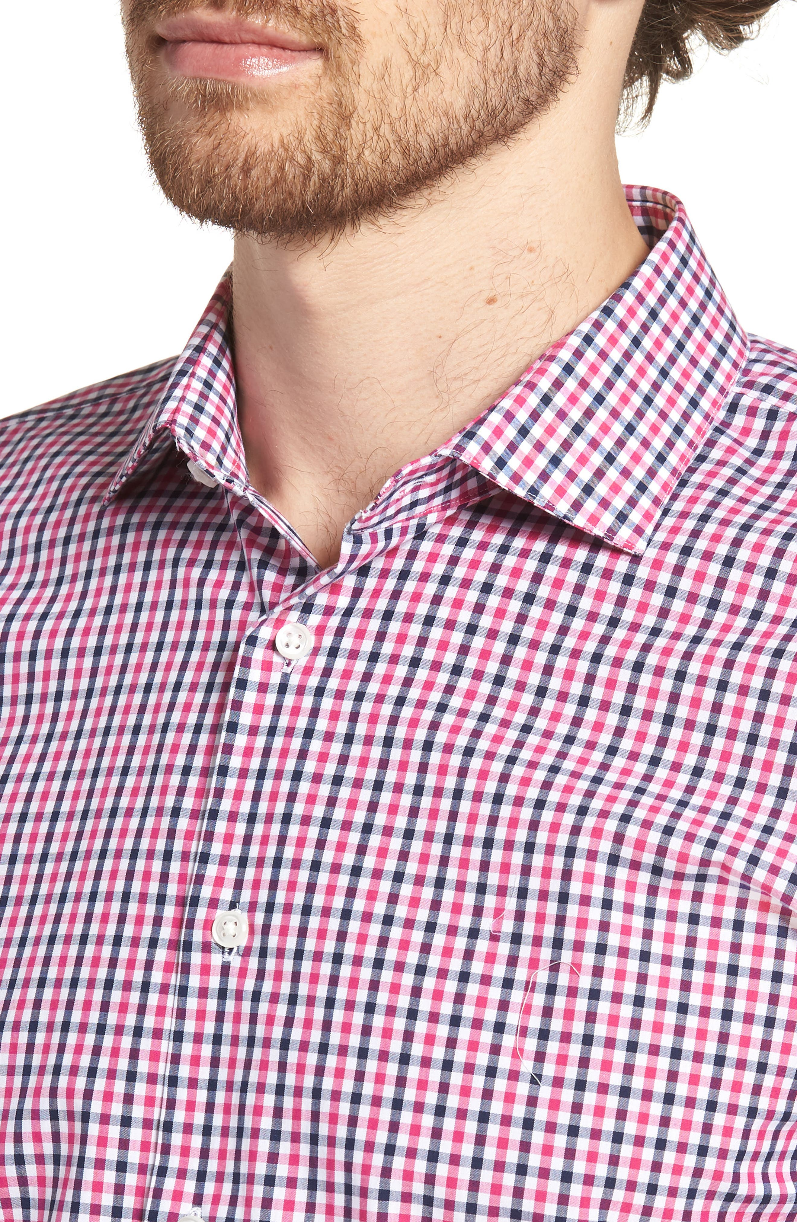 Trim Fit Check Dress Shirt,                             Alternate thumbnail 2, color,                             Pink Berry