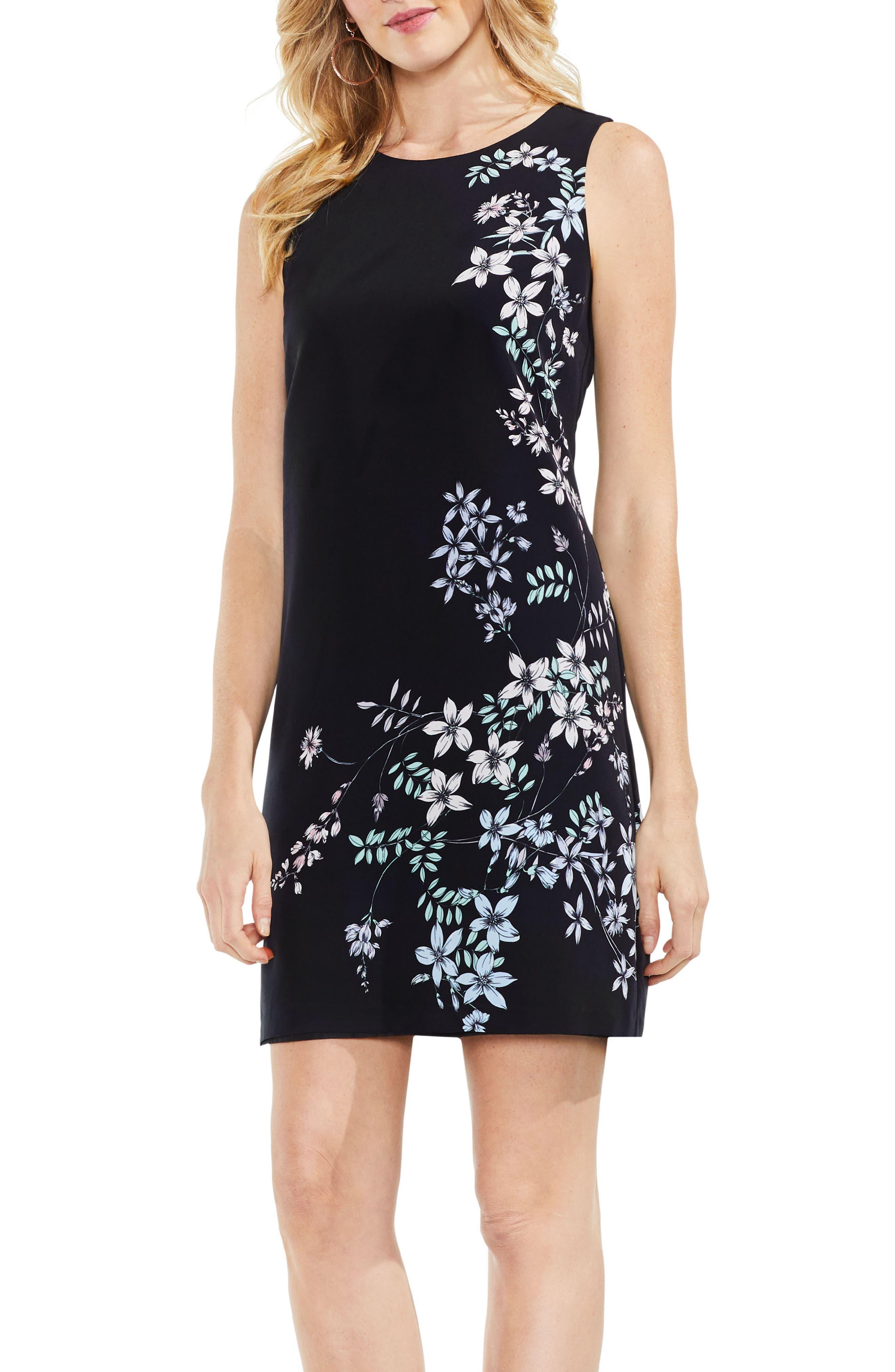 Floral Shift Dress,                         Main,                         color, Rich Black