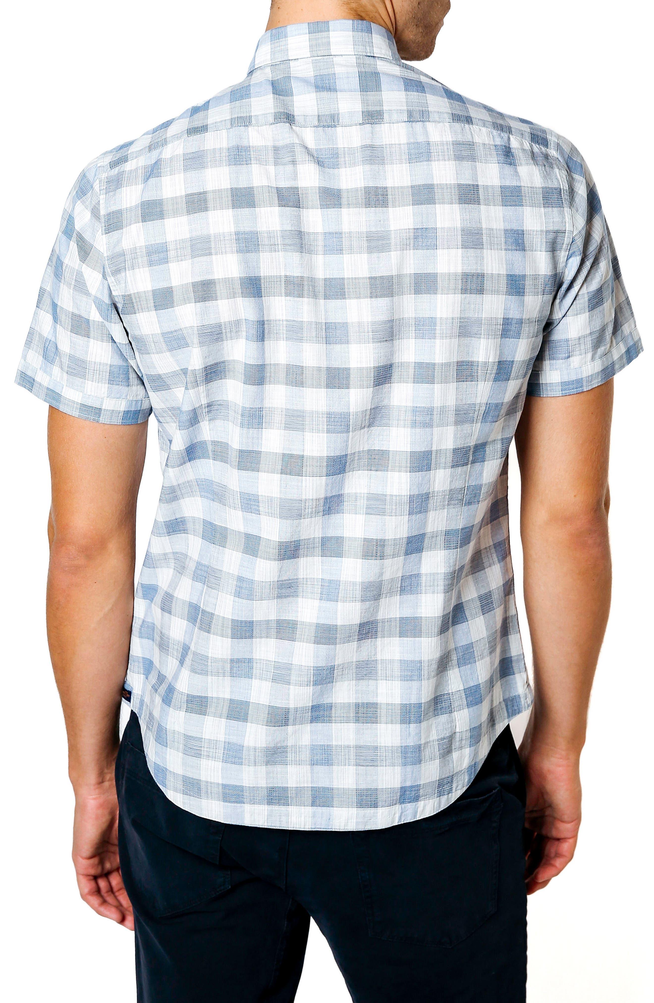 Trim Fit Check Sport Shirt,                             Alternate thumbnail 2, color,                             Blue