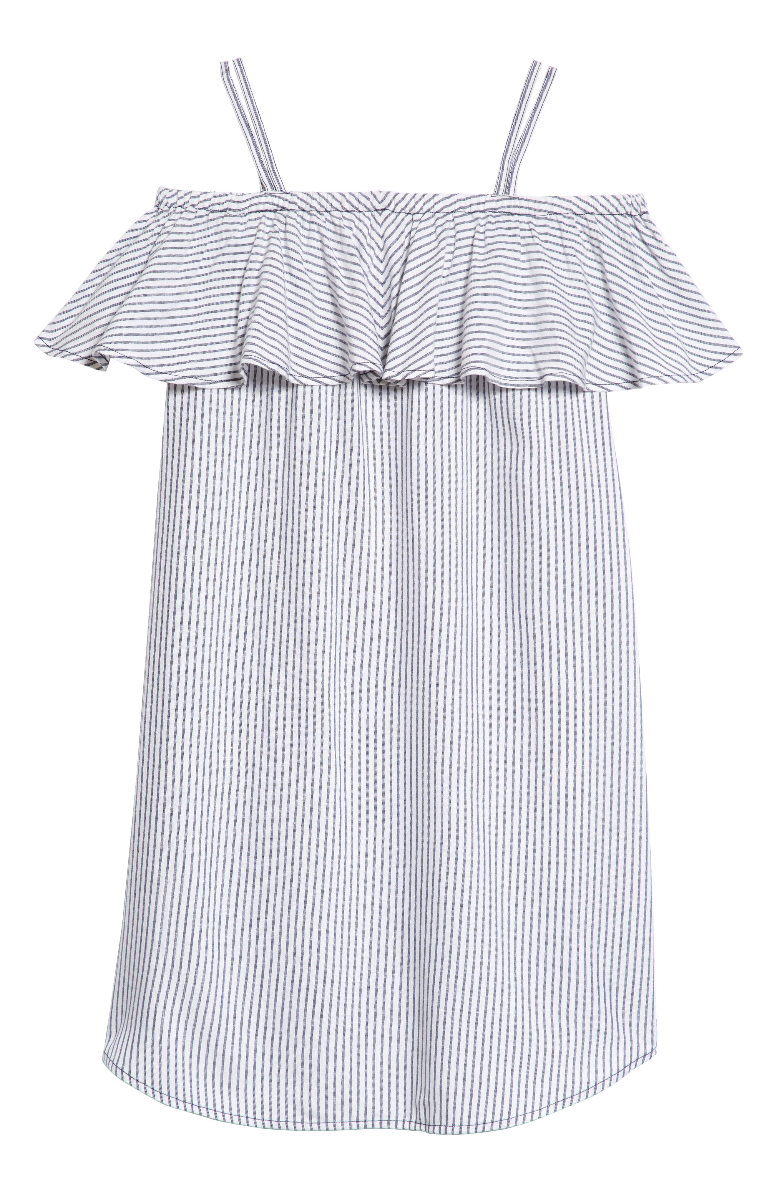 Ruffle Cold Shoulder Dress,                             Alternate thumbnail 2, color,                             White- Blue Stripe