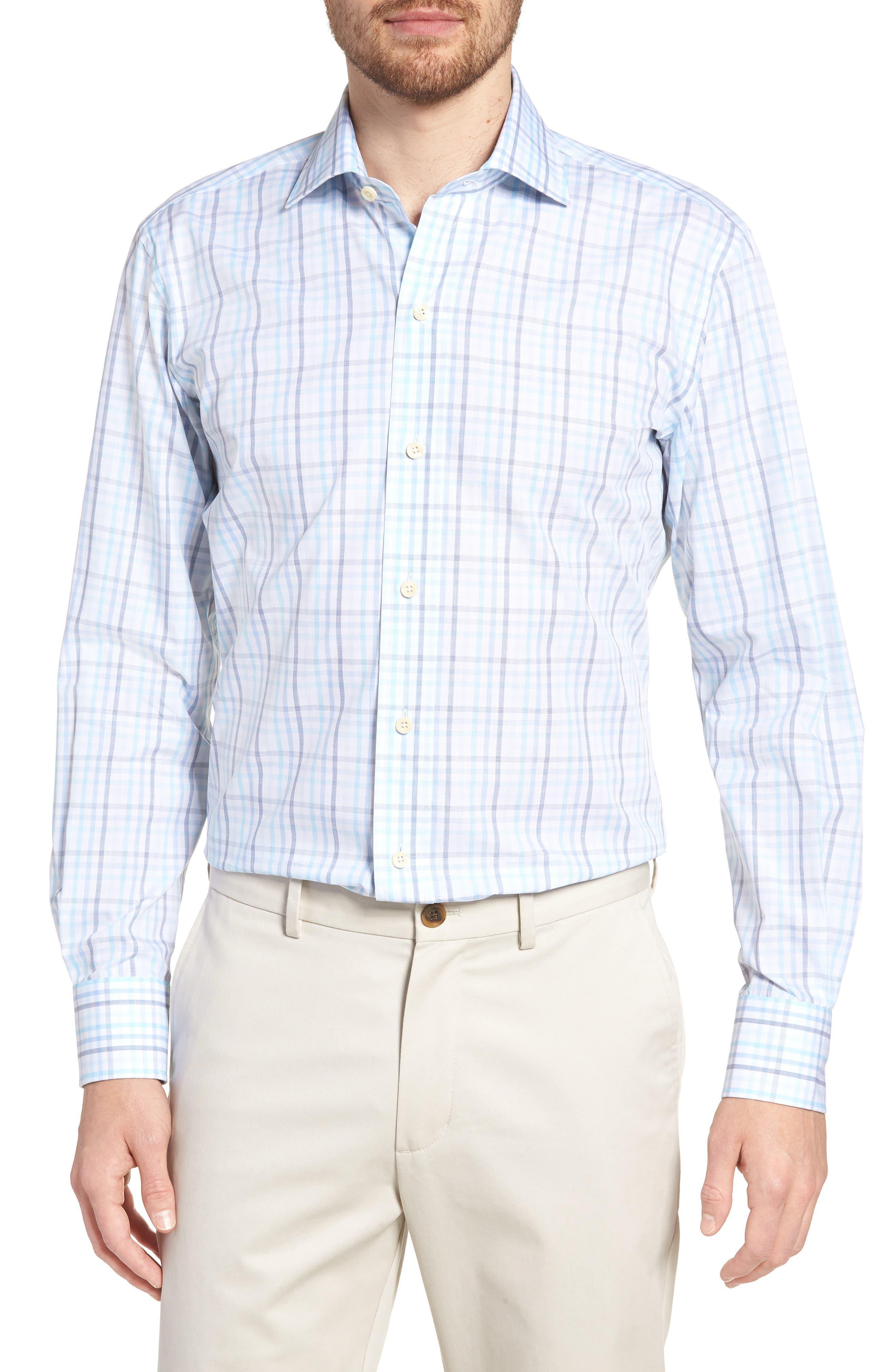 Pelton Slim Fit Check Dress Shirt,                         Main,                         color, Turquoise/ Aqua