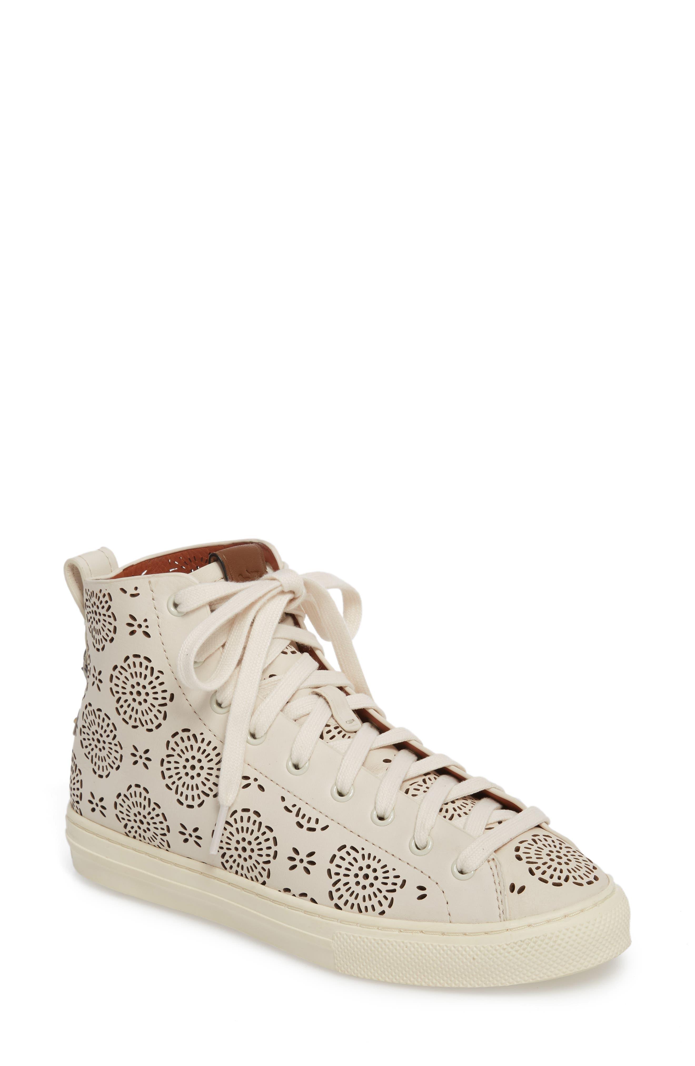 Tea Rose Cutout High Top Sneaker,                             Main thumbnail 1, color,                             Chalk Leather