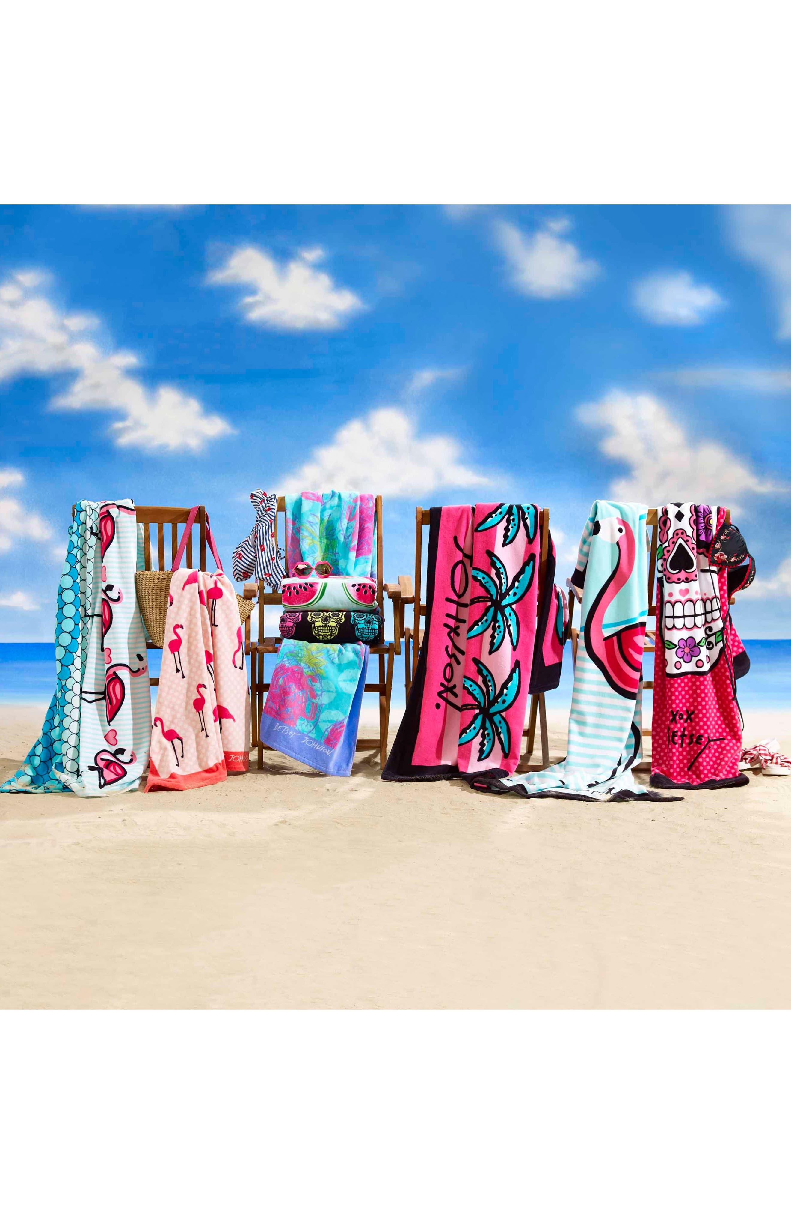 Fiesta Garden/Skull Set of 2 Beach Towels,                             Alternate thumbnail 2, color,                             Pink Multi