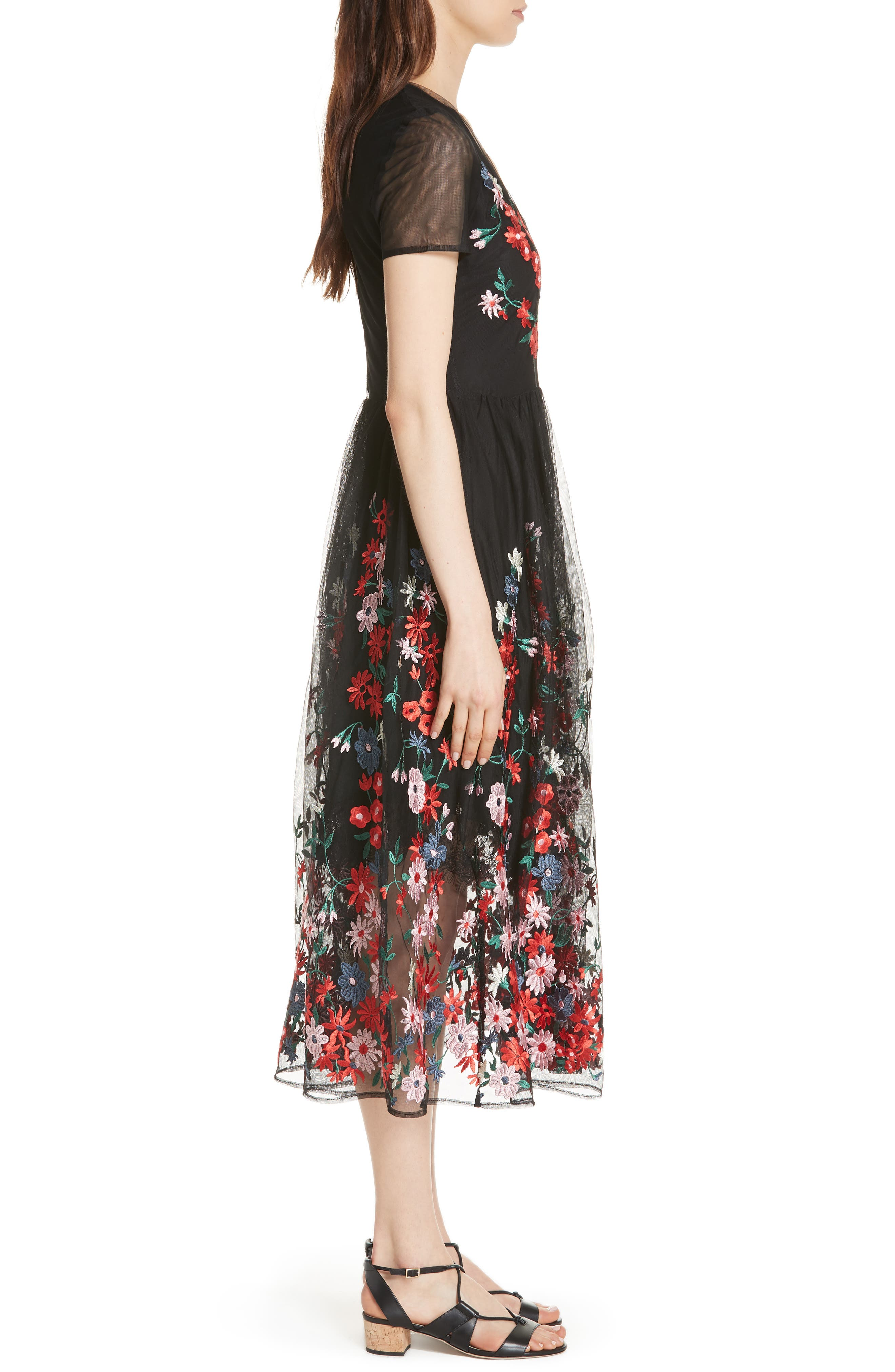 Raphael Embroidered Midi Dress,                             Alternate thumbnail 3, color,                             Black 210