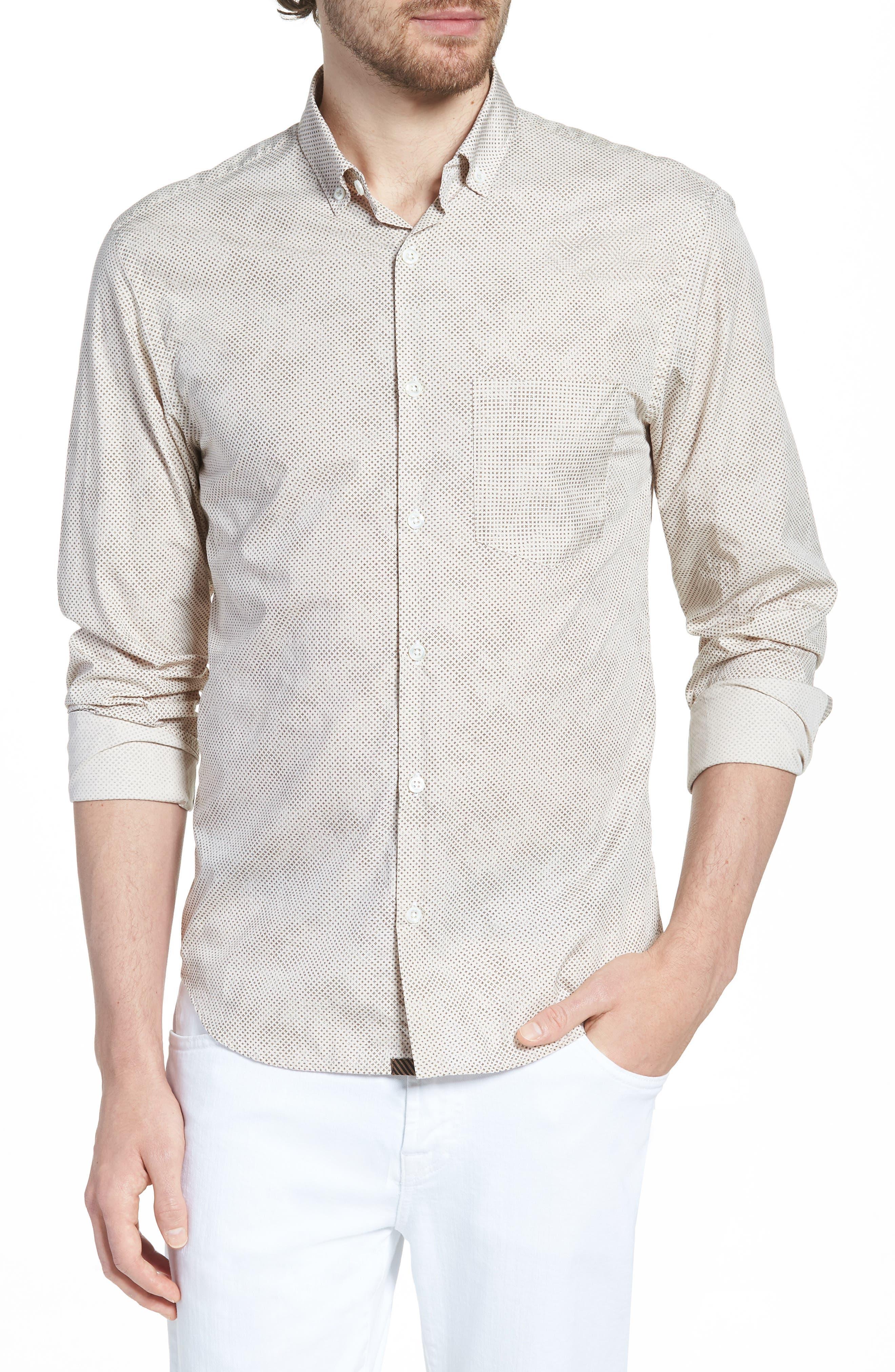 Kirby Sport Shirt,                         Main,                         color, Natural/ Brown