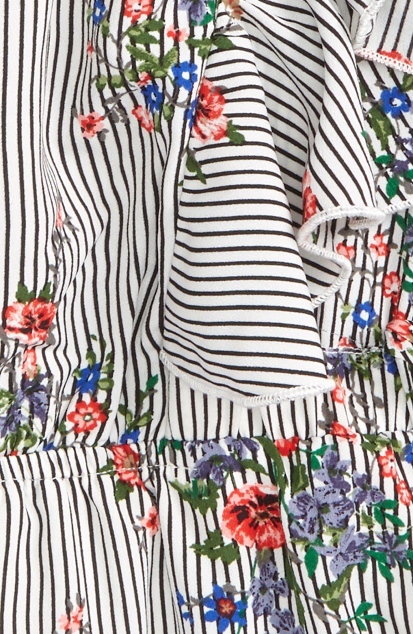 Floral Ruffle Romper,                             Alternate thumbnail 2, color,                             Black White Stripe