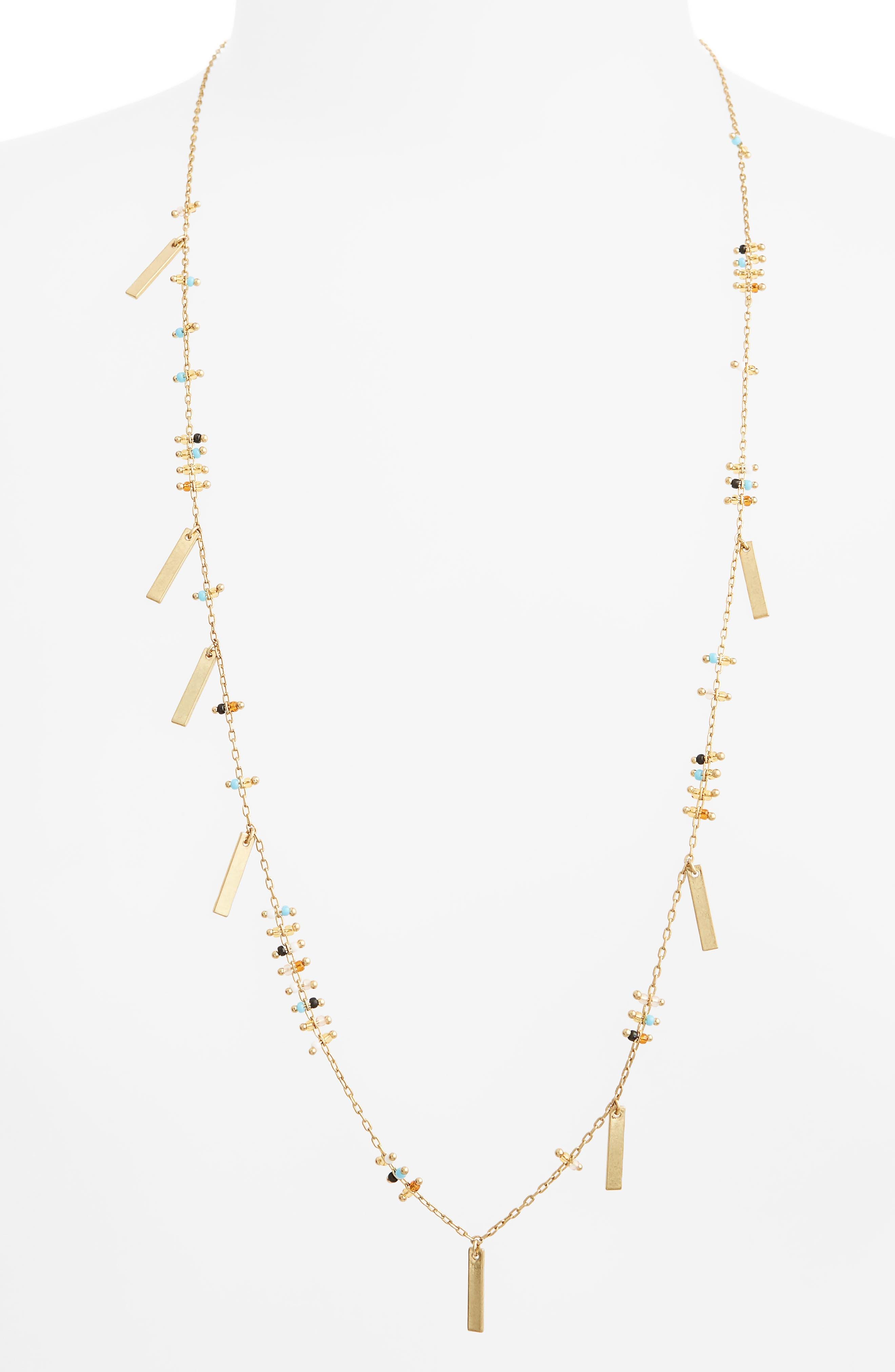 Double Bead & Charm Necklace,                             Main thumbnail 1, color,                             Turq Multi