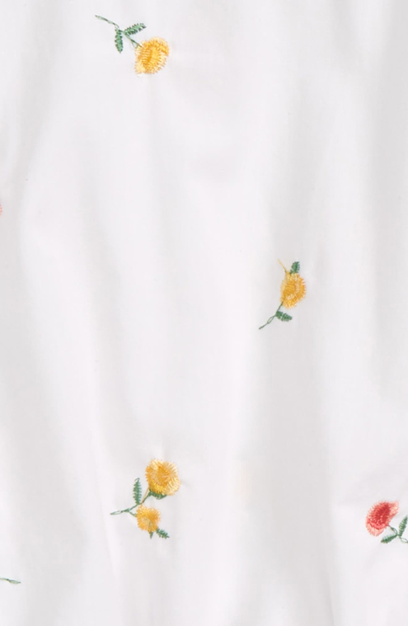 Floral Embroidery Cold Shoulder Top,                             Alternate thumbnail 2, color,                             White