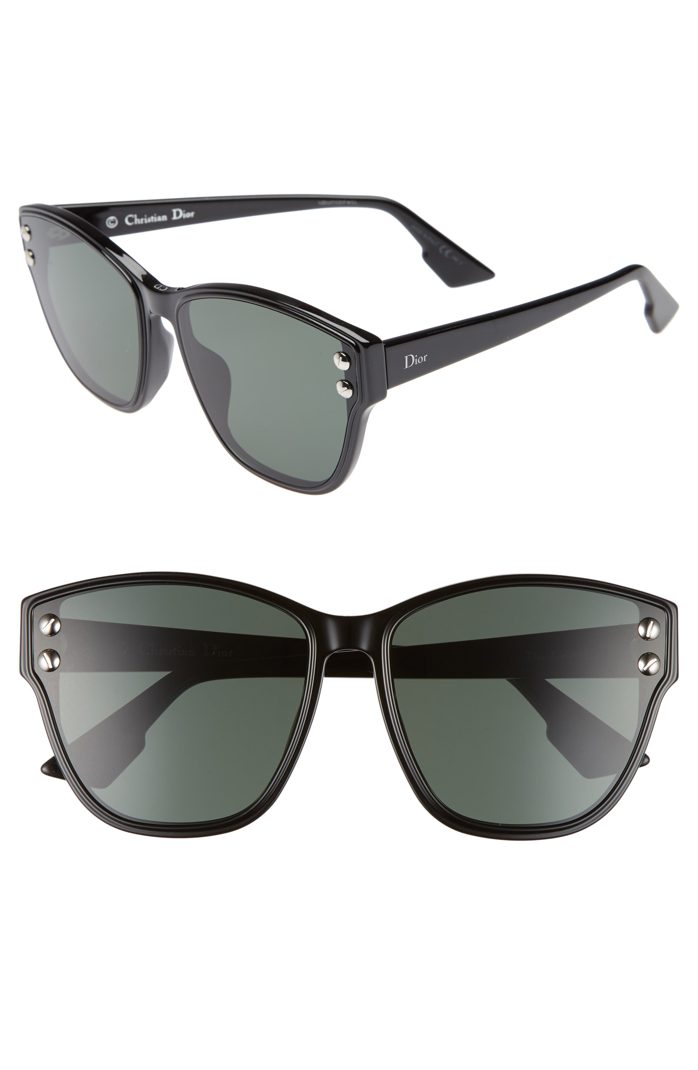 Addict 62mm Special Fit Cat Eye Sunglasses,                             Main thumbnail 1, color,                             Black