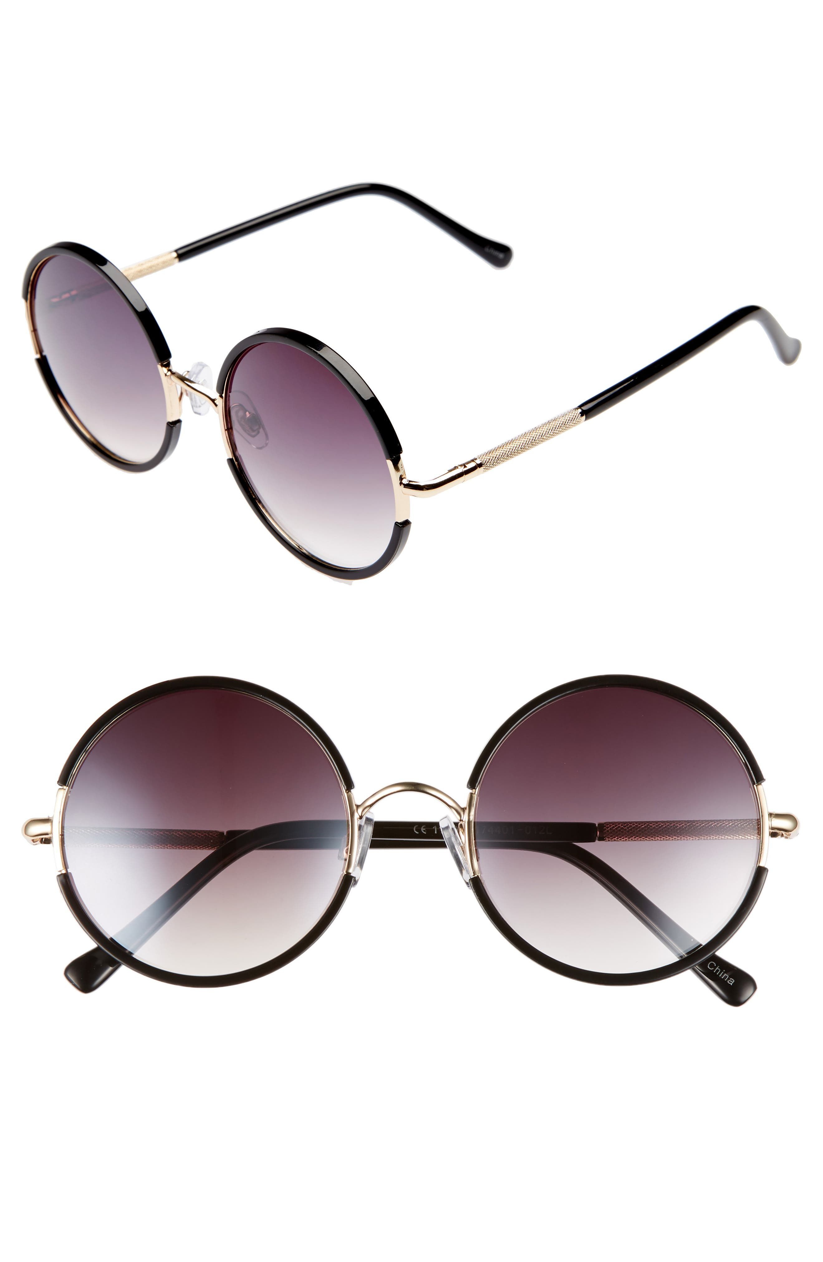 52mm Gradient Round Sunglasses,                         Main,                         color, Black/ Gold