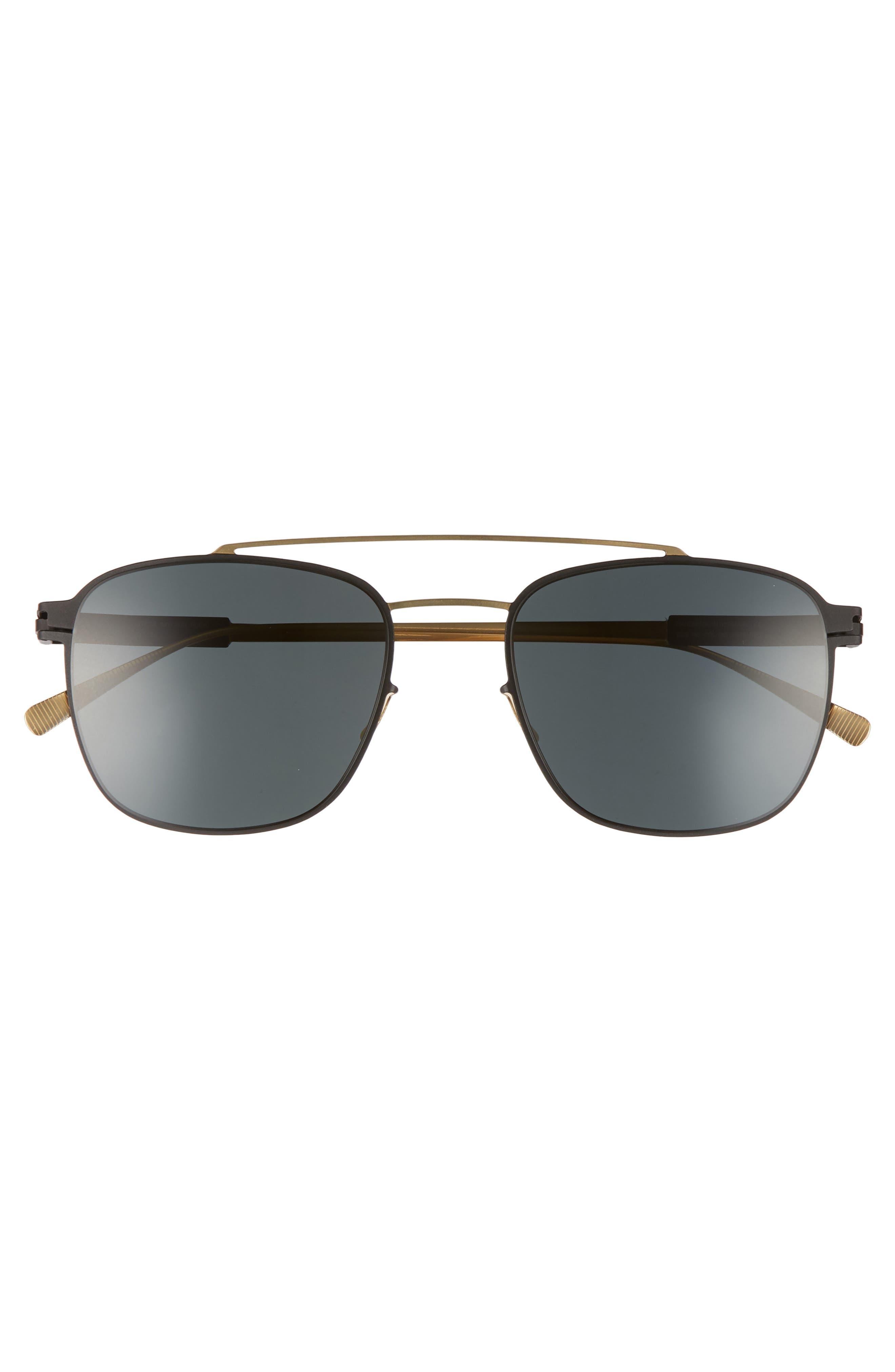 Hugh 52mm Polarized Sunglasses,                             Alternate thumbnail 2, color,                             Gold/ Black