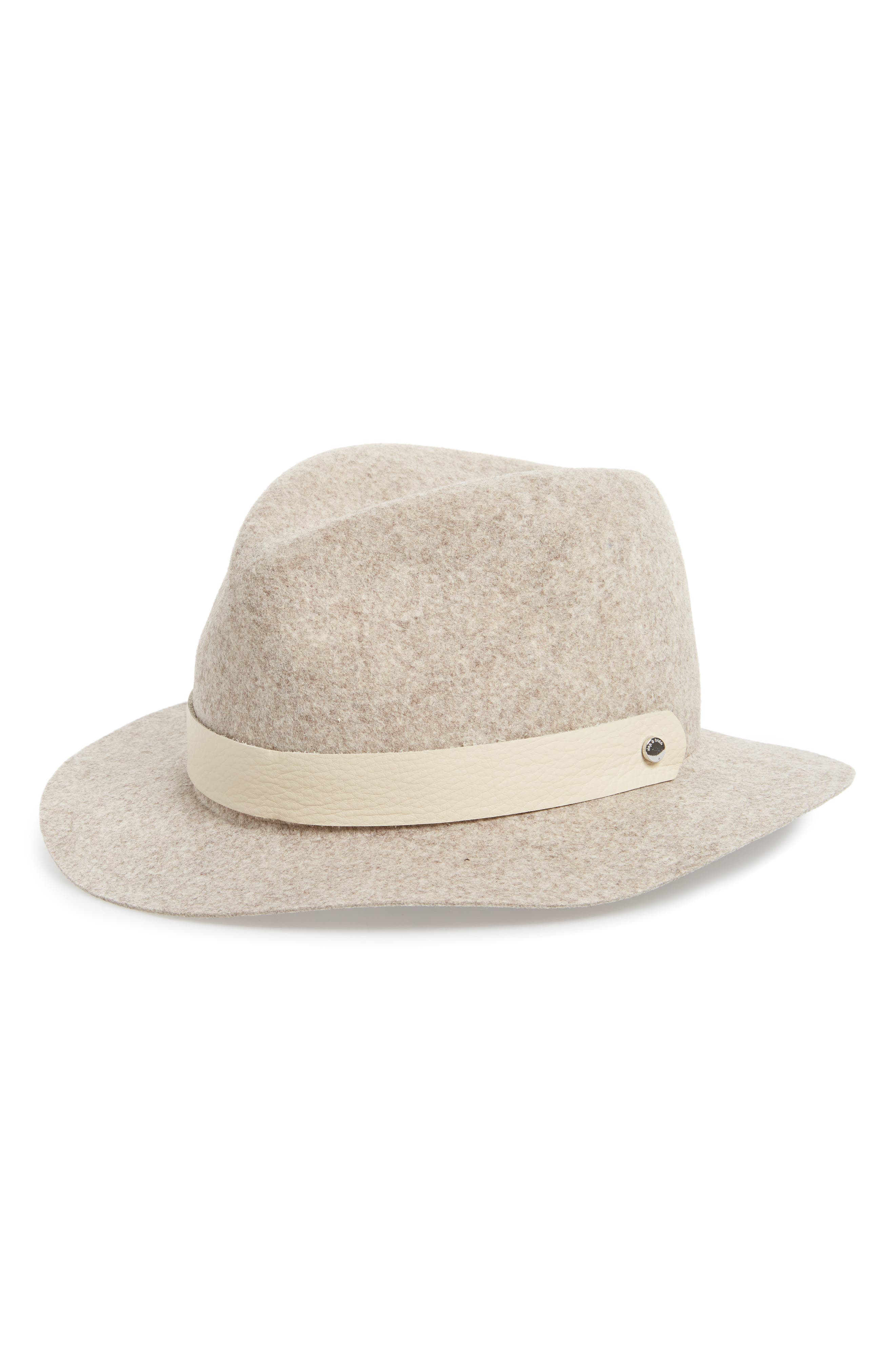 Abbott Packable Wool Fedora,                         Main,                         color, Natural Blend