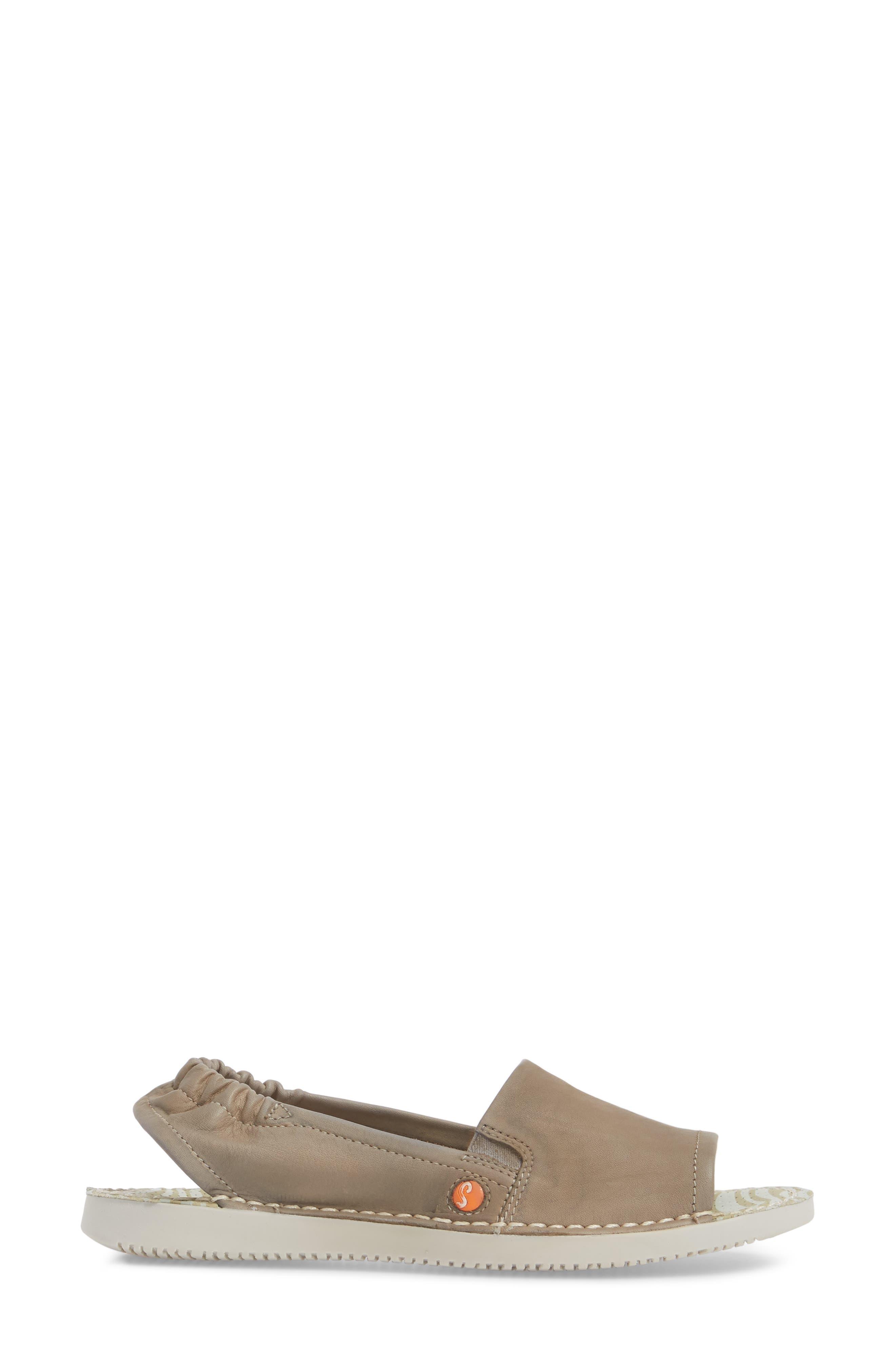 Tee Flat Sandal,                             Alternate thumbnail 3, color,                             Taupe Leather