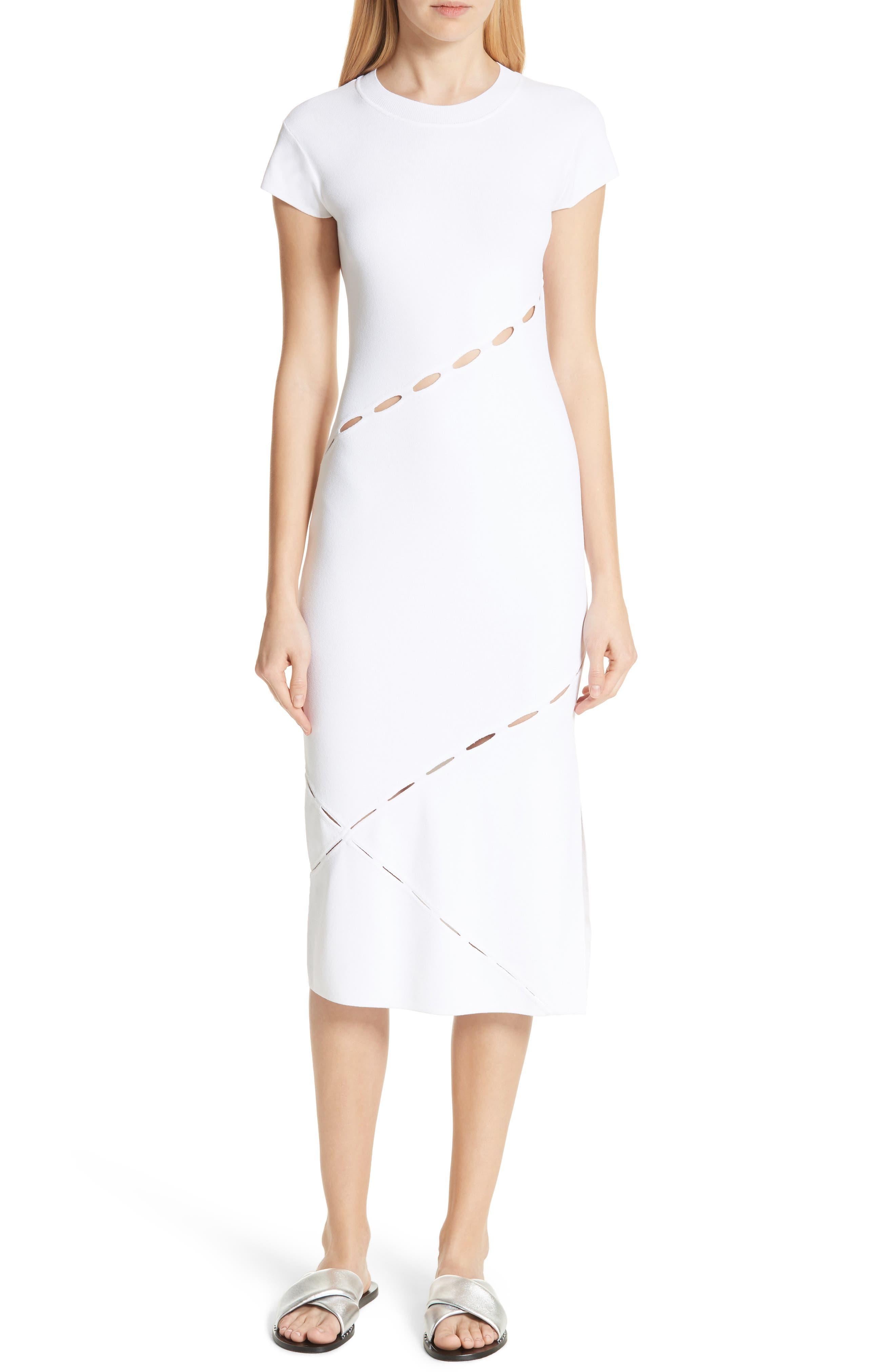Eden Slash Detail Midi Dress,                             Main thumbnail 1, color,                             White