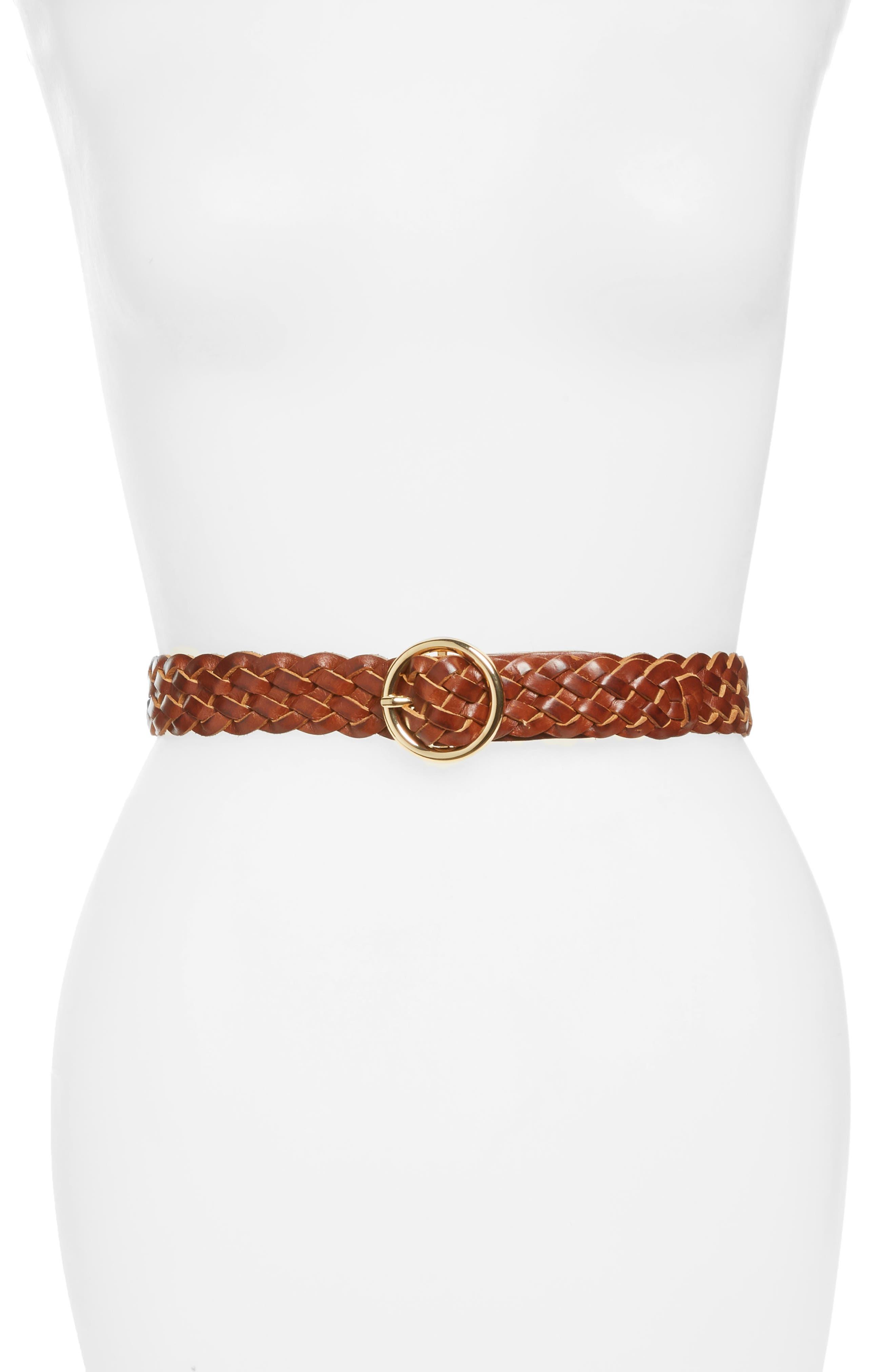 Main Image - Halogen® Round Buckle Braided Leather Belt