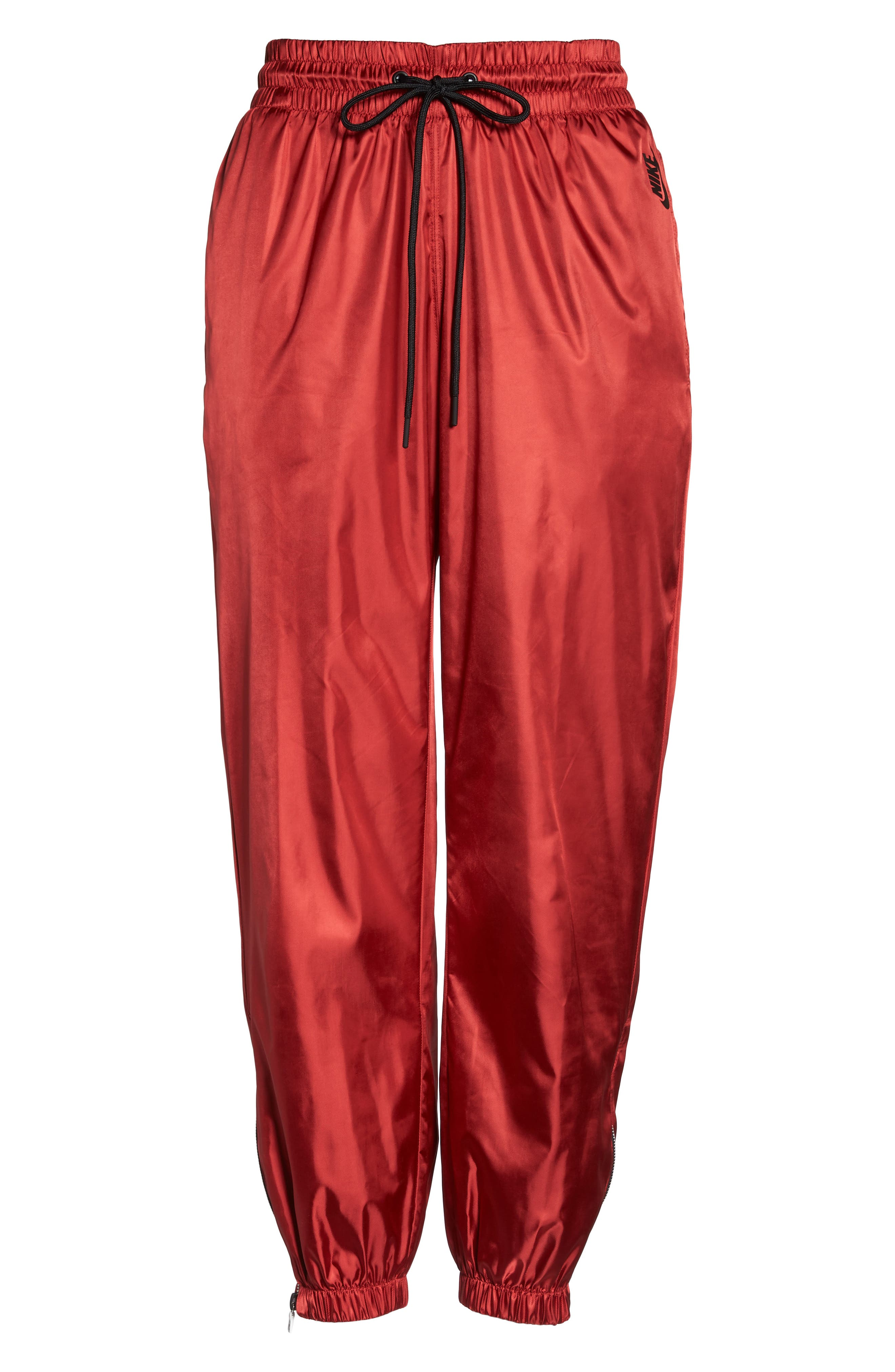 NikeLab Collection Women's Satin Track Pants,                             Alternate thumbnail 8, color,                             Gym Red/ Black