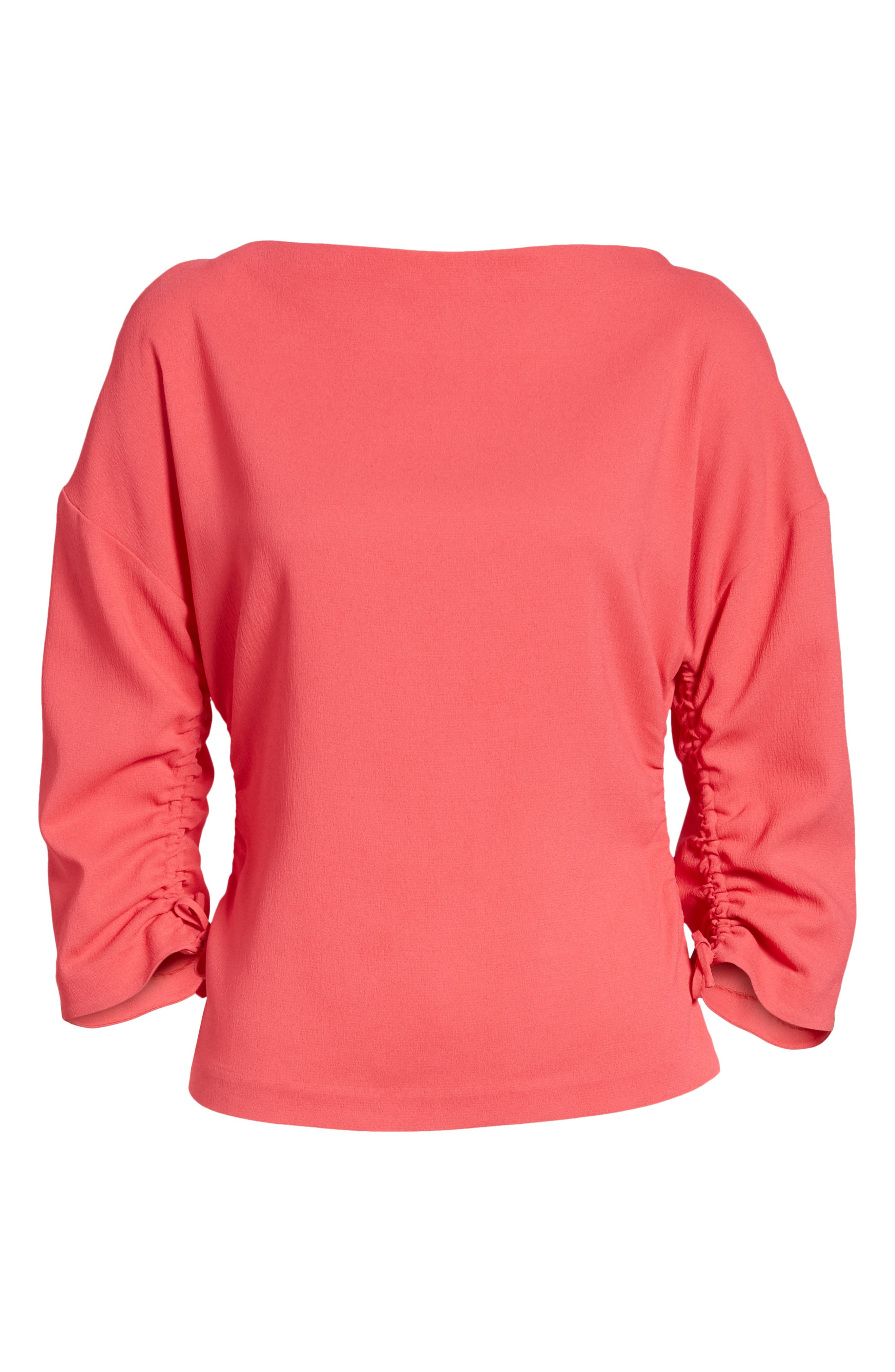 Ruched Crepe Top,                             Alternate thumbnail 7, color,                             Pink Honey