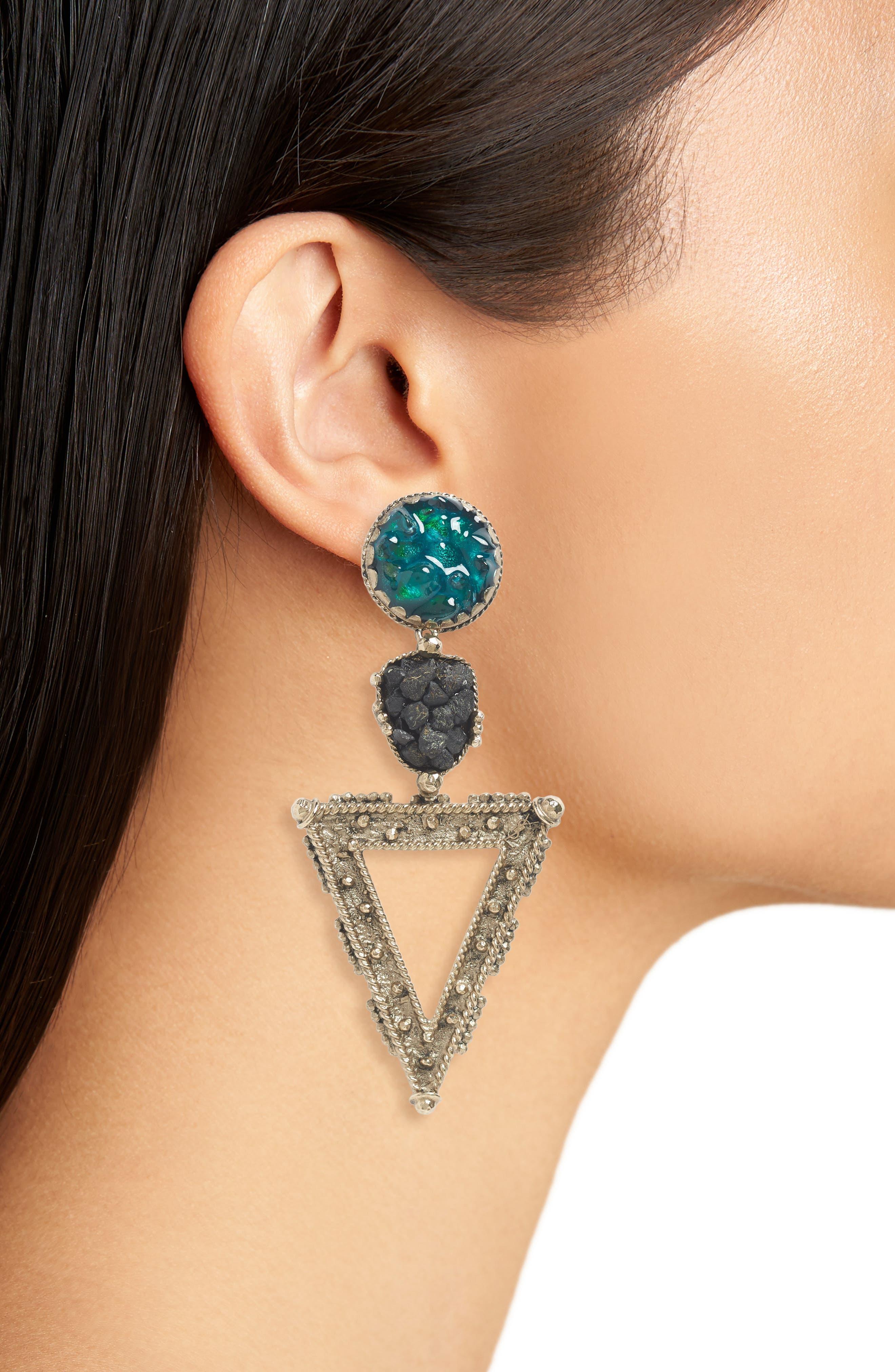 Triangle Clip-On Earrings,                             Alternate thumbnail 2, color,                             Spaniel
