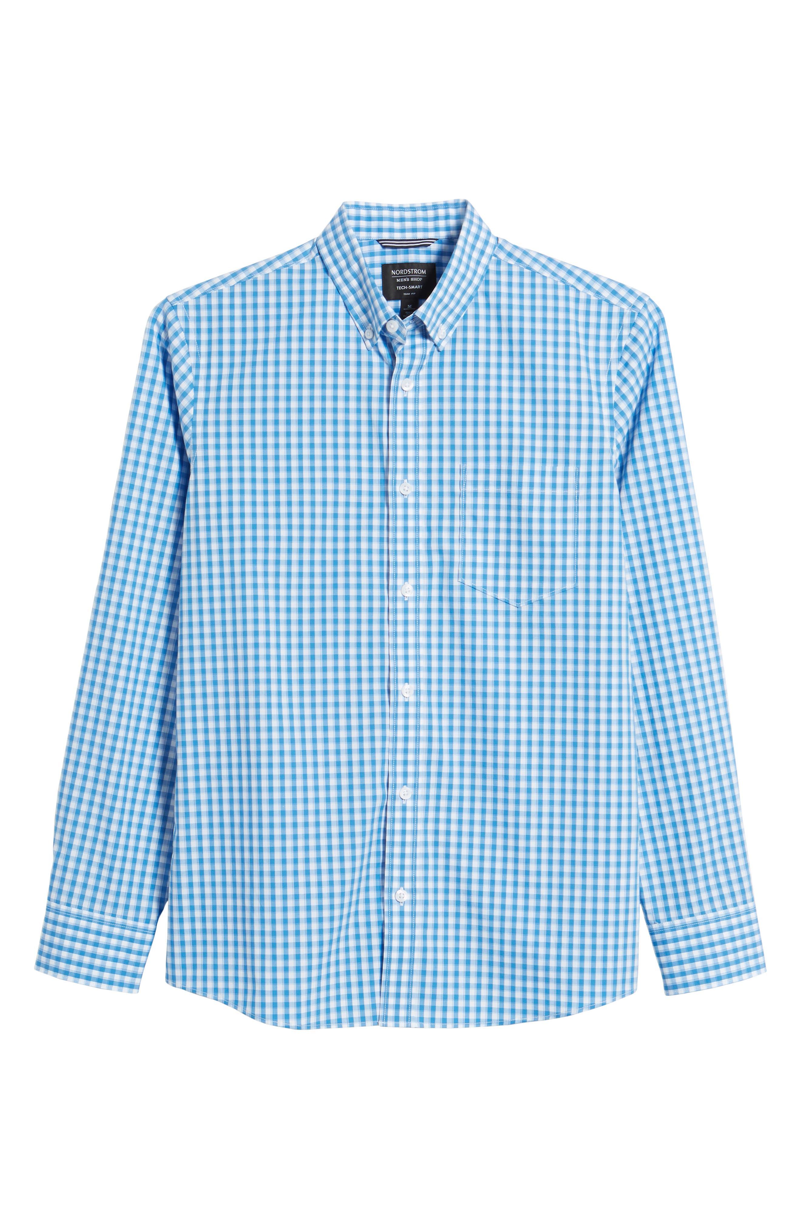 Tech-Smart Trim Fit Check Sport Shirt,                             Alternate thumbnail 6, color,                             Blue Camp White Gingham