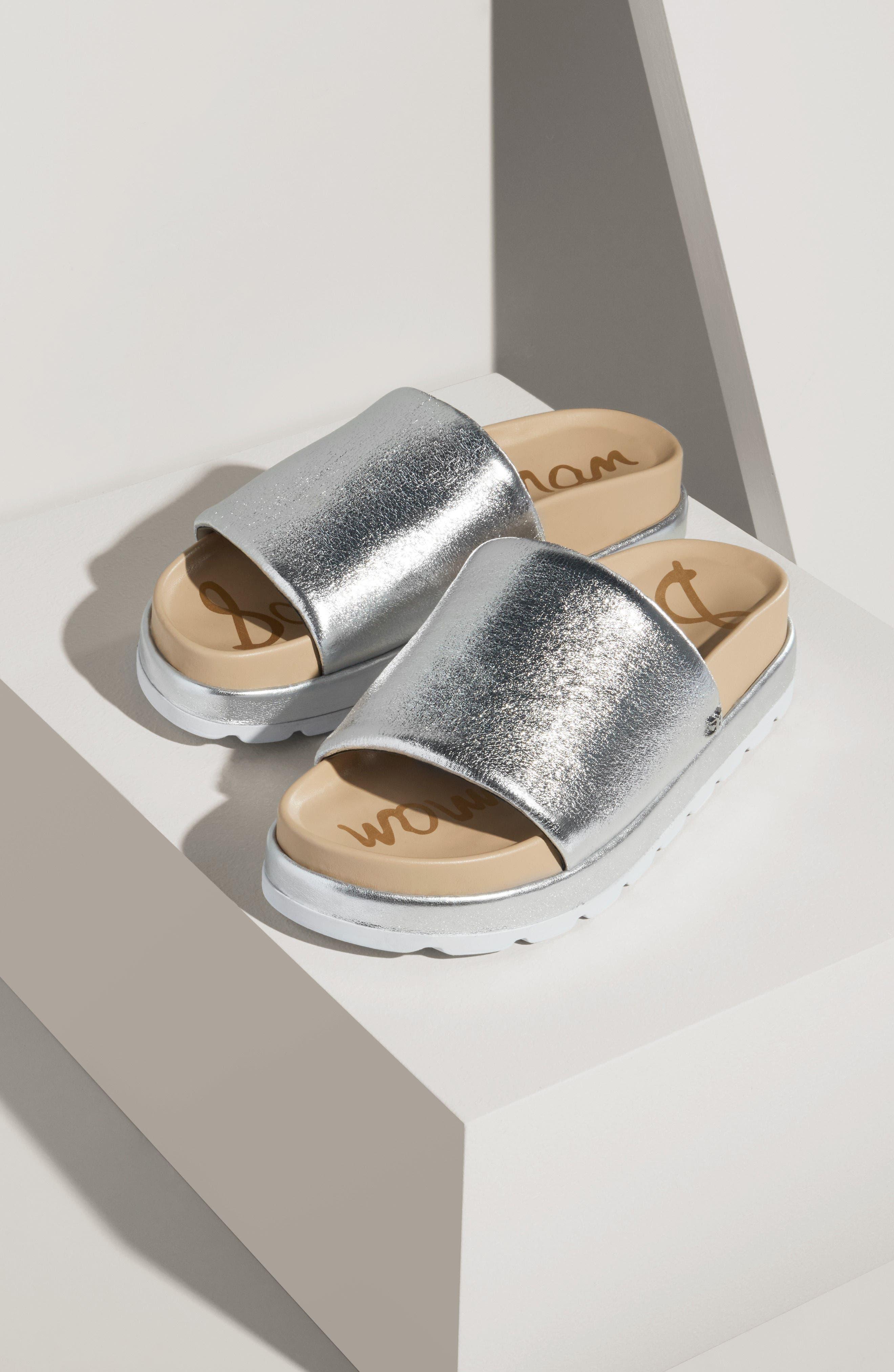 Shaye Slide Sandal,                             Alternate thumbnail 2, color,                             Soft Silver Metallic Fabric