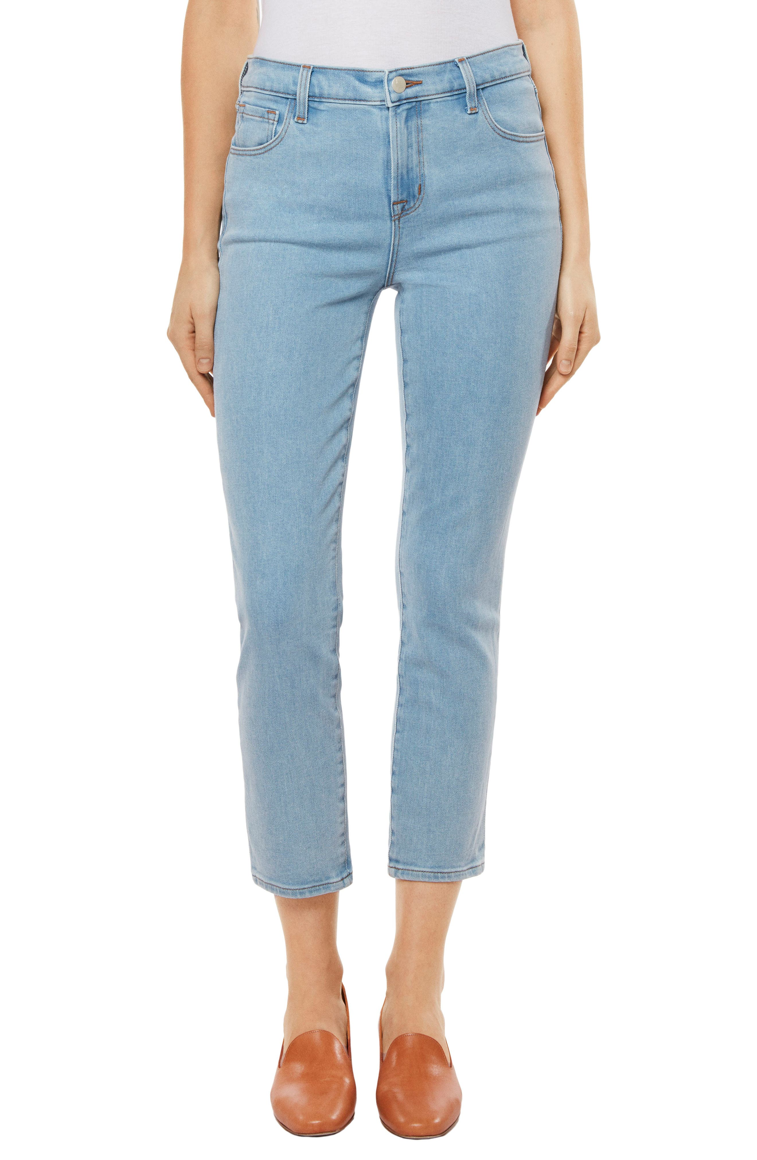 Ruby High Waist Crop Jeans,                             Main thumbnail 1, color,                             Silvery