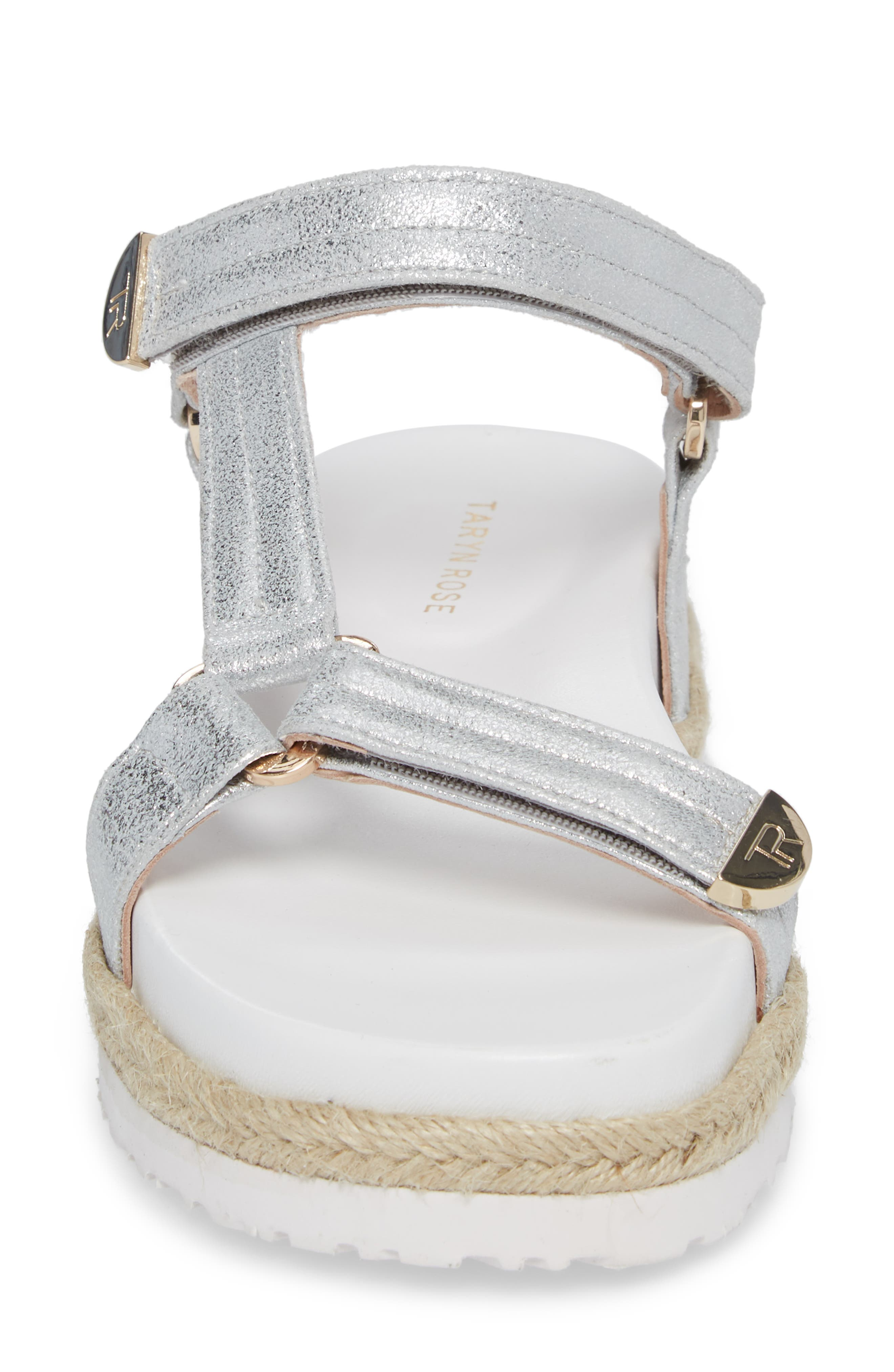 Lydia Platform Sport Sandal,                             Alternate thumbnail 4, color,                             Silver Leather