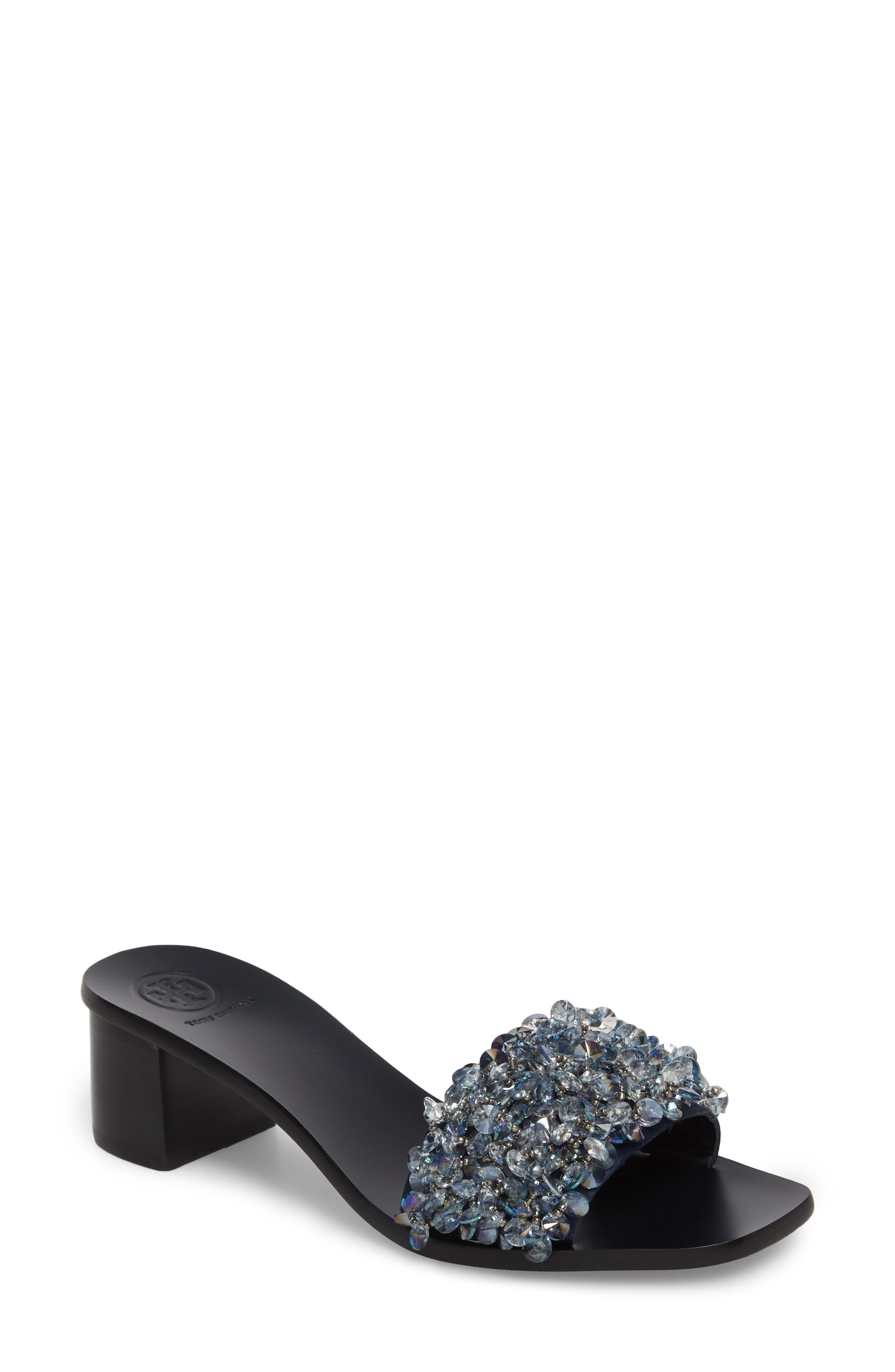 Logan Embellished Slide Sandal,                             Main thumbnail 1, color,                             Gray/ Perfect Navy