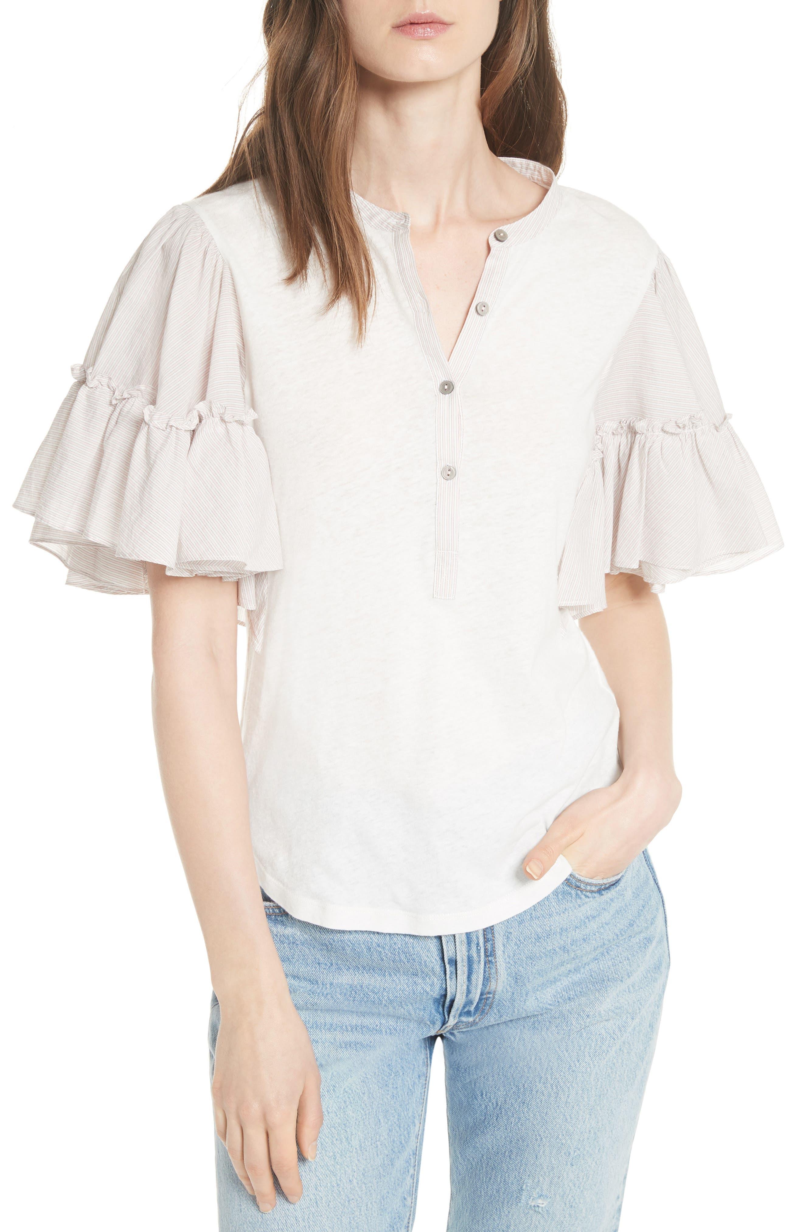 Textured Stripe Linen & Cotton Top,                         Main,                         color, Milk