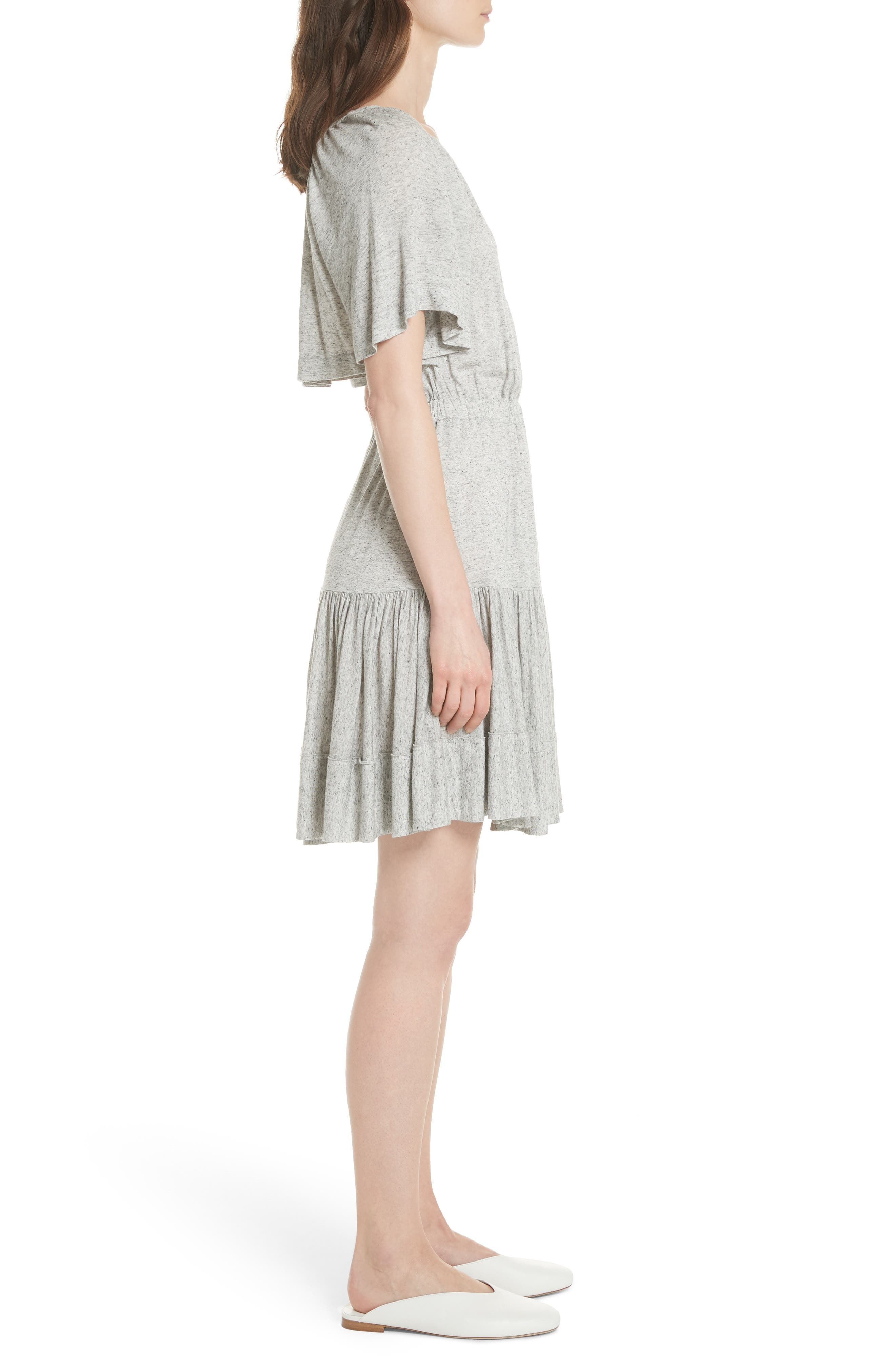Ruffle Back Cutout Dress,                             Alternate thumbnail 3, color,                             Grey Melange