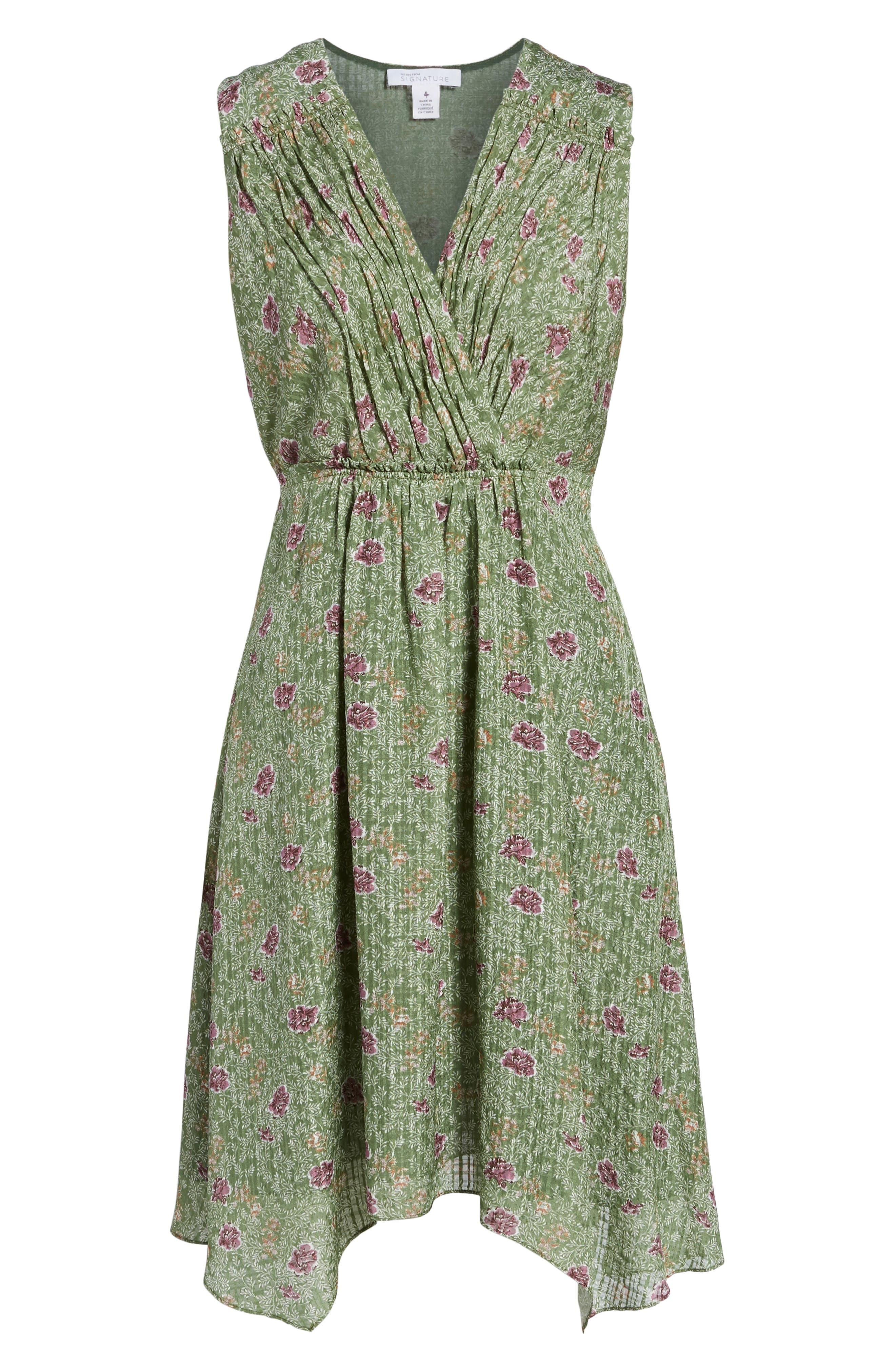 Handkerchief Hem Silk Dress,                             Alternate thumbnail 6, color,                             Green Vineyard Jakarta Floral