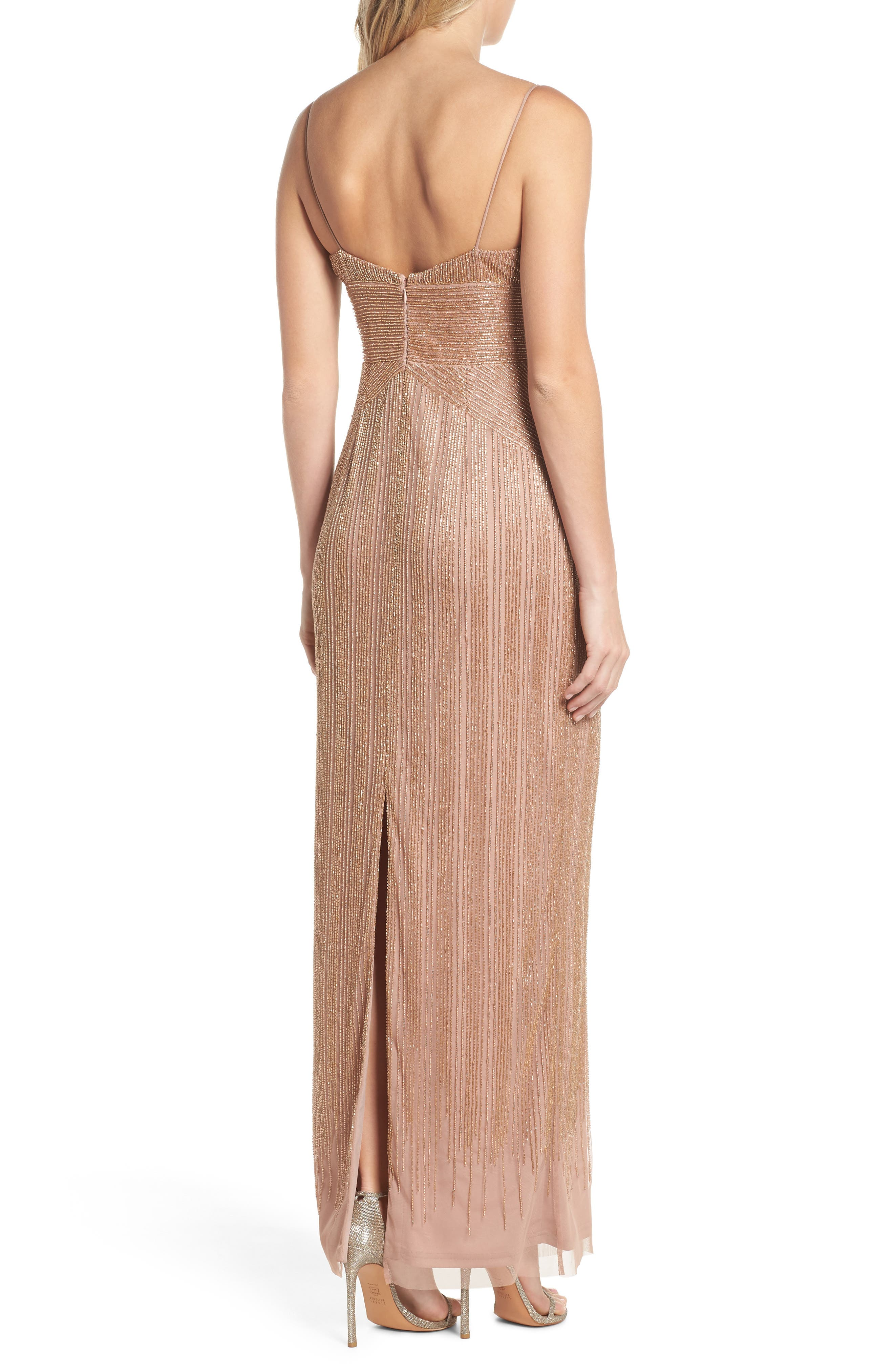 Beaded Gown,                             Alternate thumbnail 2, color,                             Rose Gold