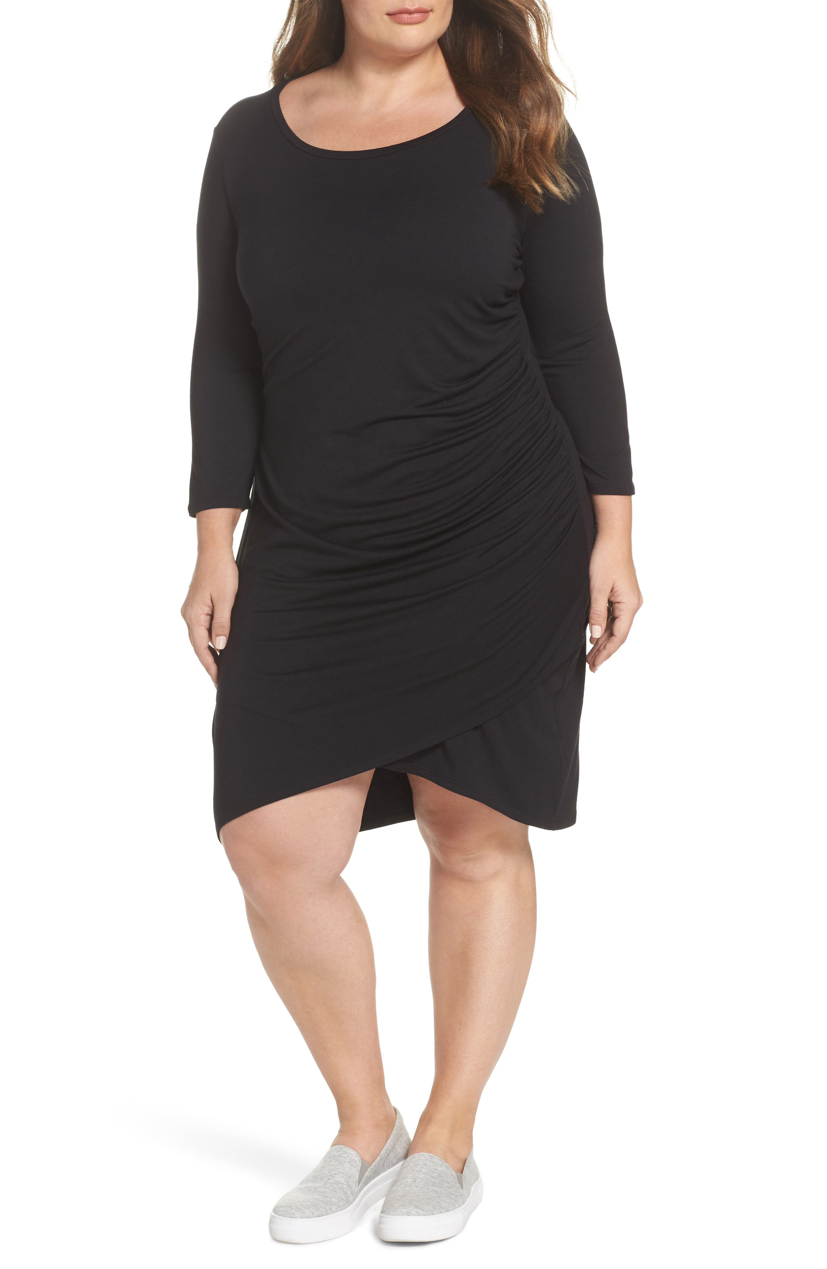 x Living in Yellow Hannah Ruched Faux Wrap Dress,                             Main thumbnail 1, color,                             Black