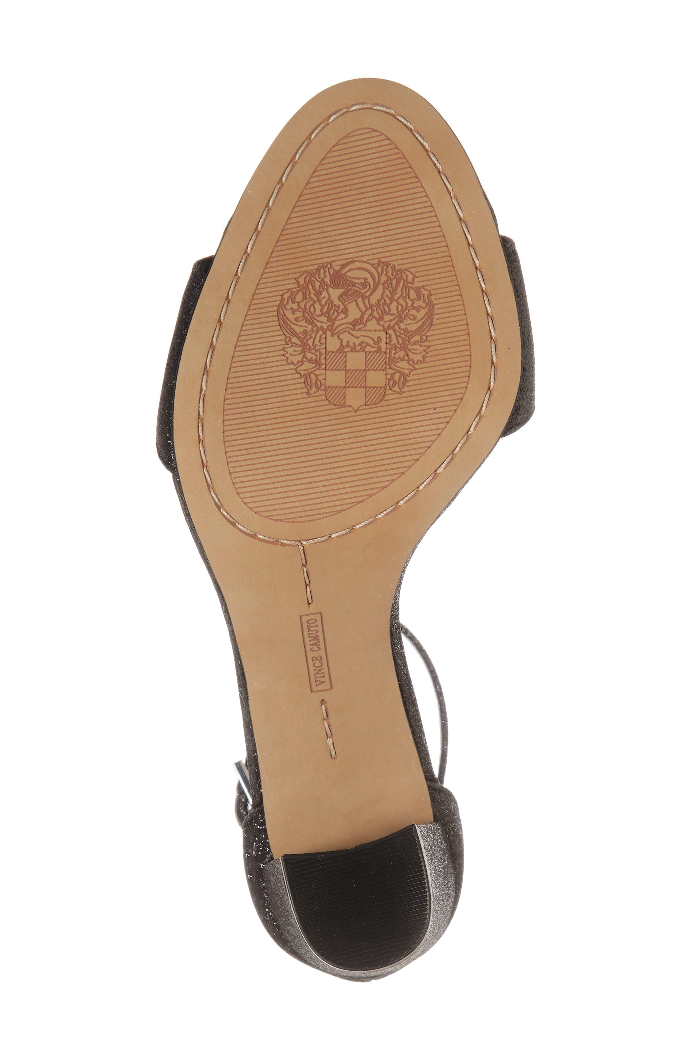 Corlina Ankle Strap Sandal,                             Alternate thumbnail 4, color,                             Black Glitter Fabric
