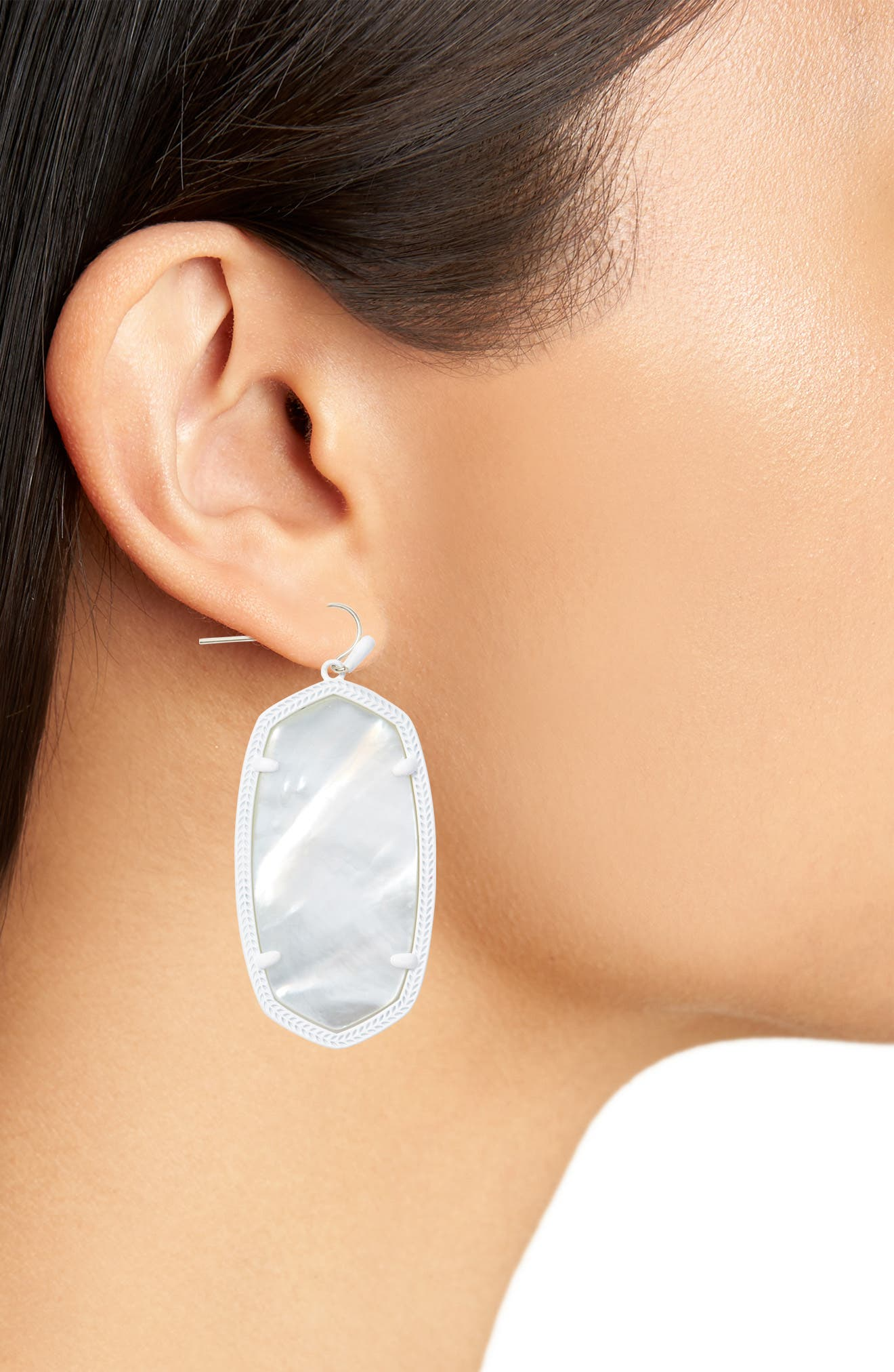 Danielle - Large Oval Statement Earrings,                             Alternate thumbnail 2, color,                             Ivory Mop/ Matte White