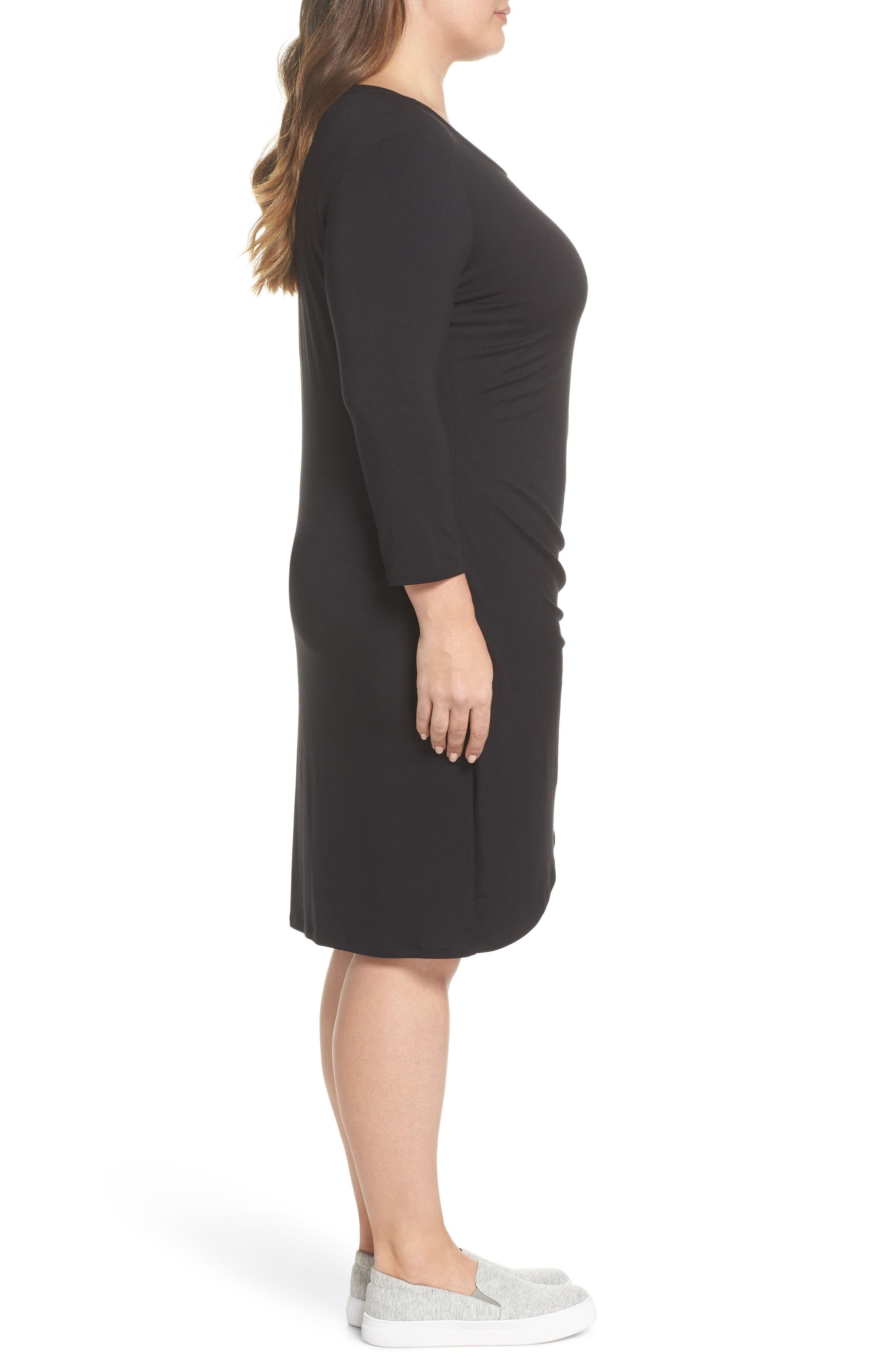 x Living in Yellow Hannah Ruched Faux Wrap Dress,                             Alternate thumbnail 4, color,                             Black