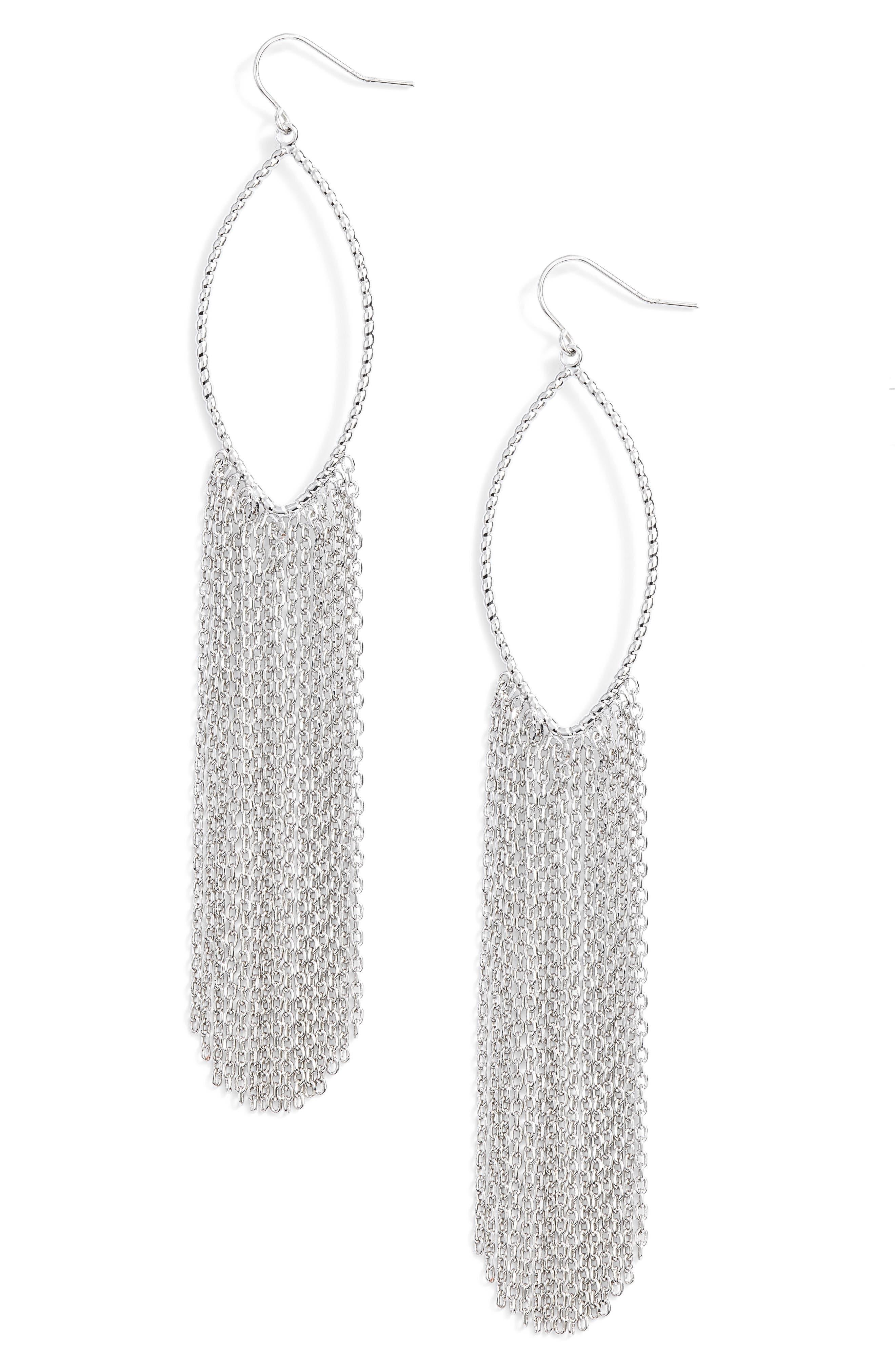 Textured Ellipse Fringe Hoop Earrings,                         Main,                         color, Rhodium