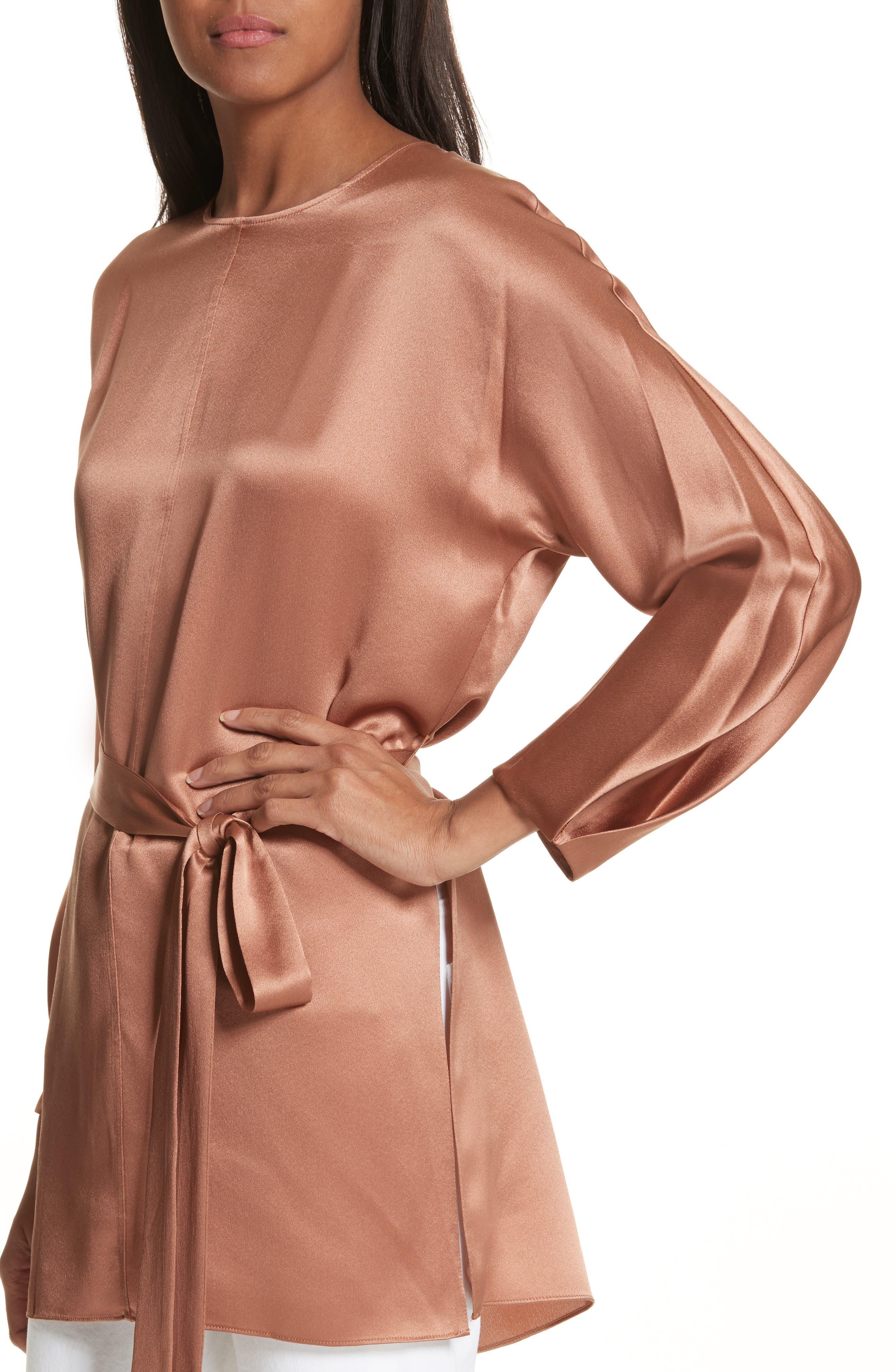 Seam Front Silk Dress,                             Alternate thumbnail 4, color,                             Terracotta