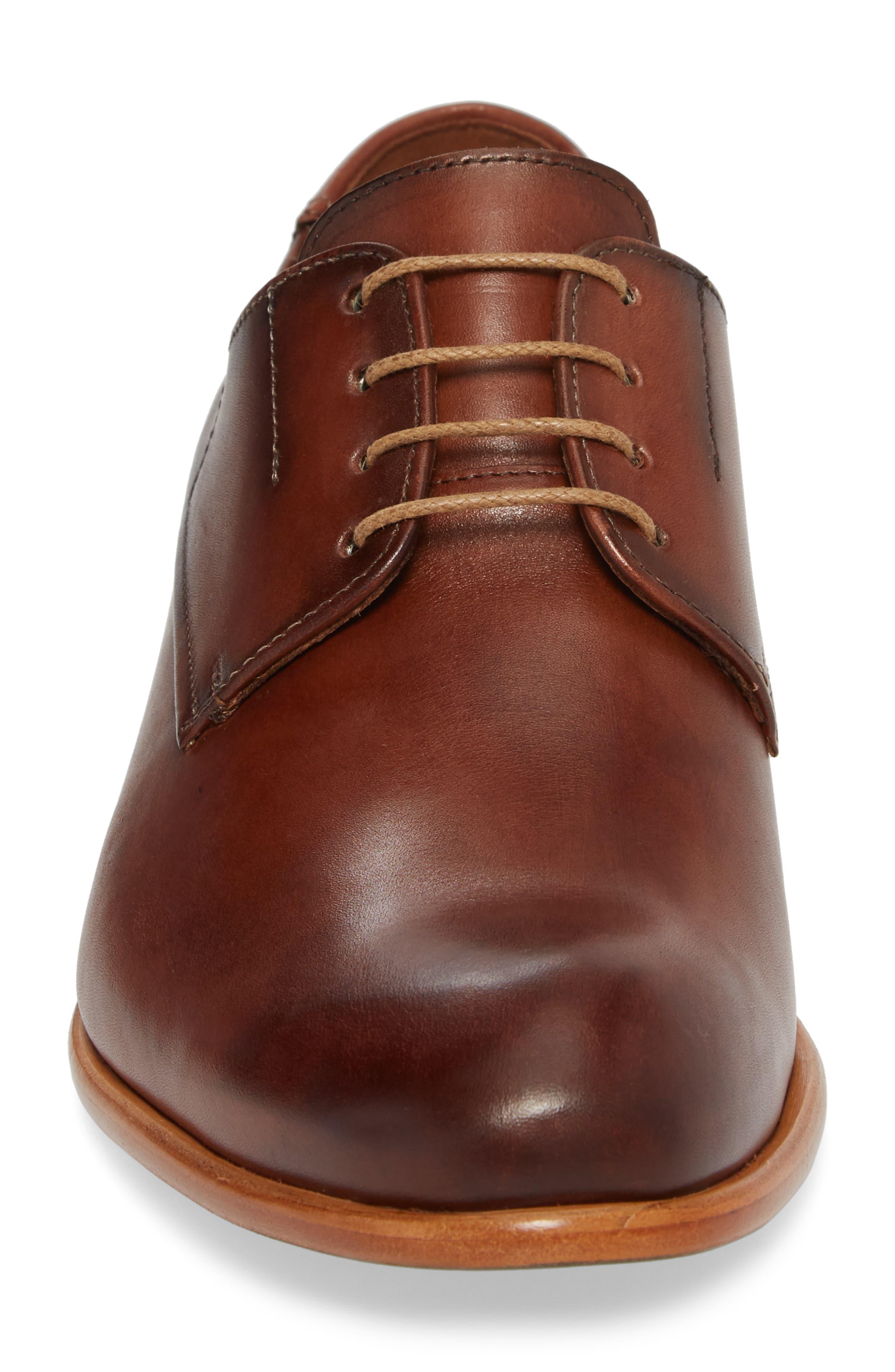 Nansen Plain Toe Derby,                             Alternate thumbnail 4, color,                             Cognac Leather