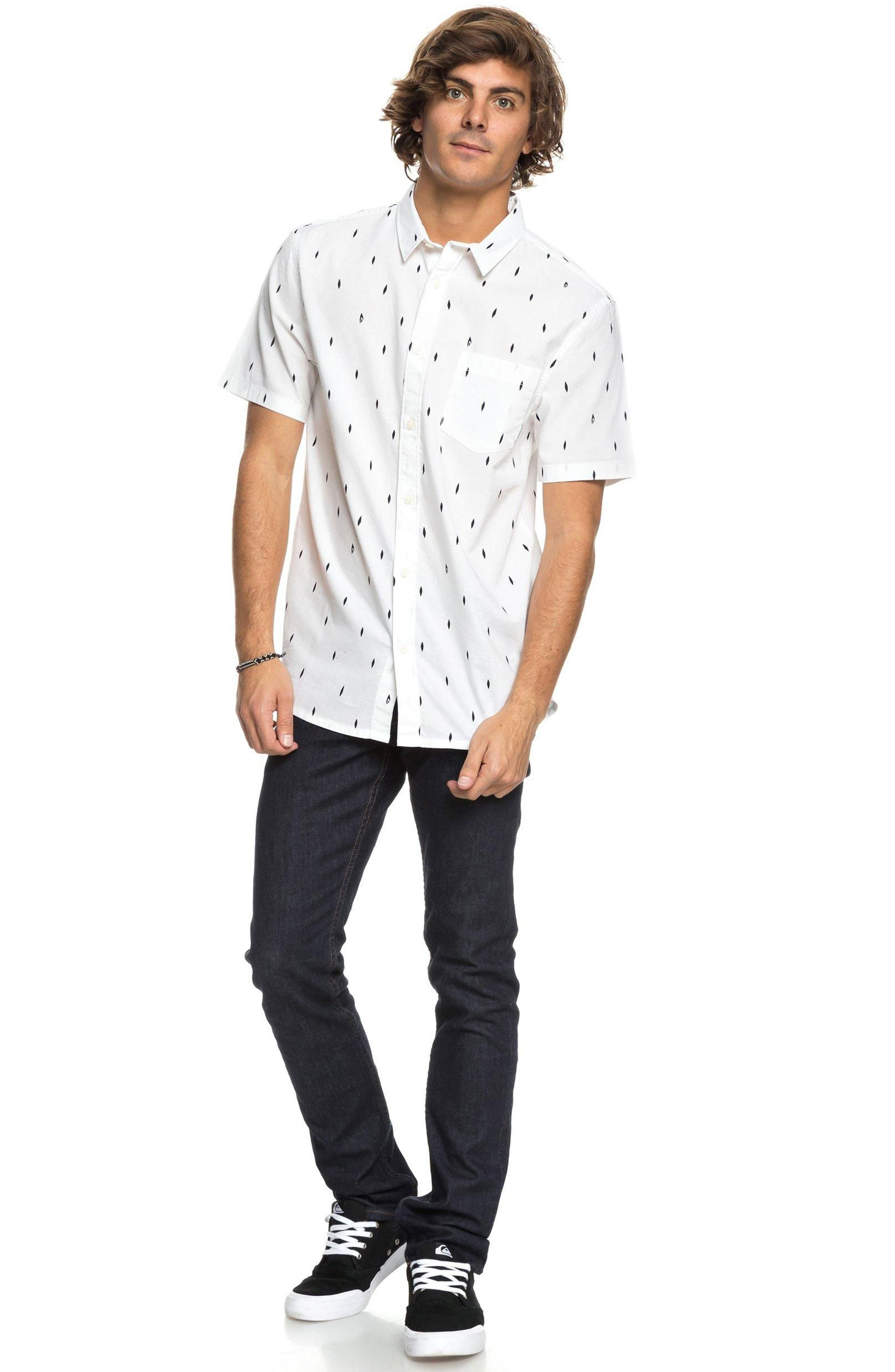 Abstract Boards Woven Shirt,                             Alternate thumbnail 3, color,                             Snow White
