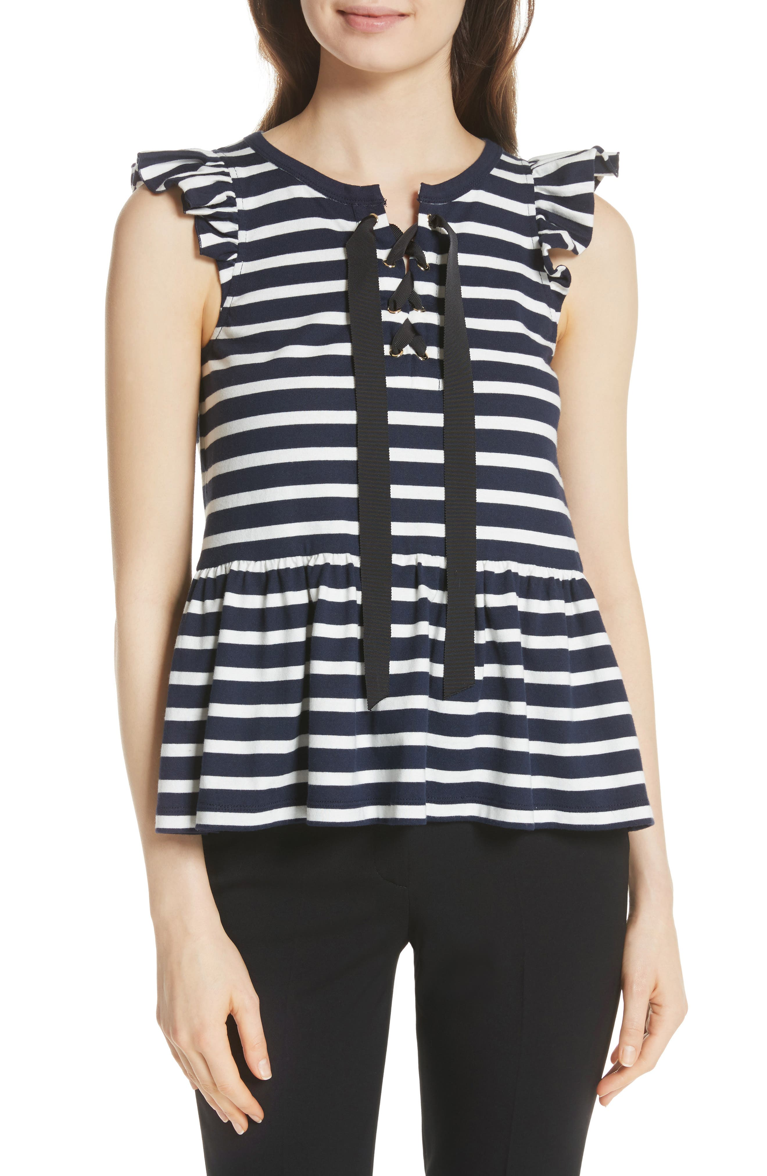 lace-up stripe tee,                         Main,                         color, Rich Navy/ Off White