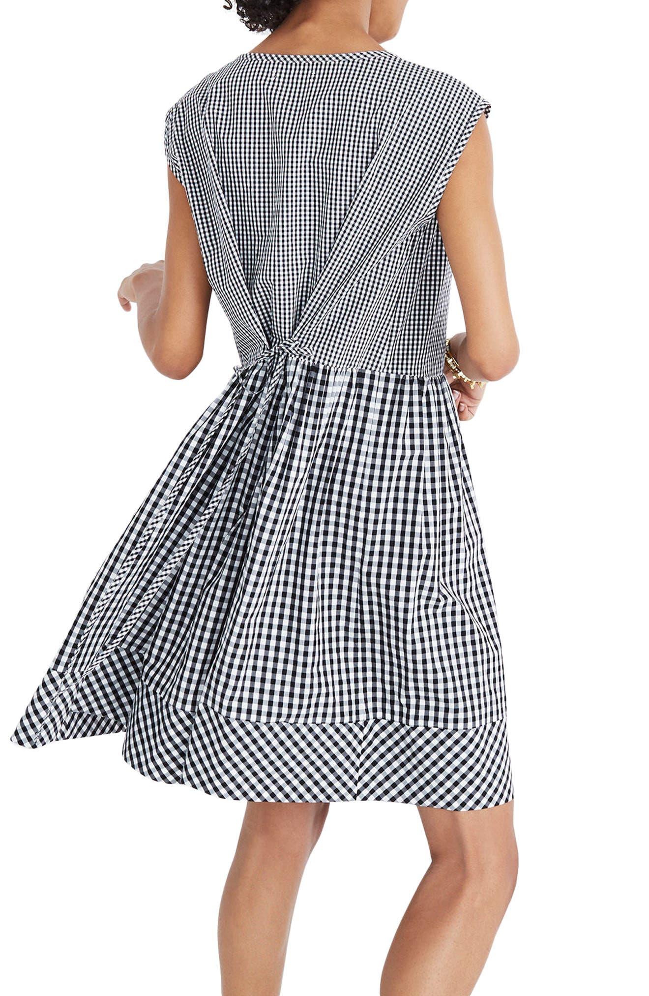 Gingham Tie Back Minidress,                             Alternate thumbnail 2, color,                             True Black
