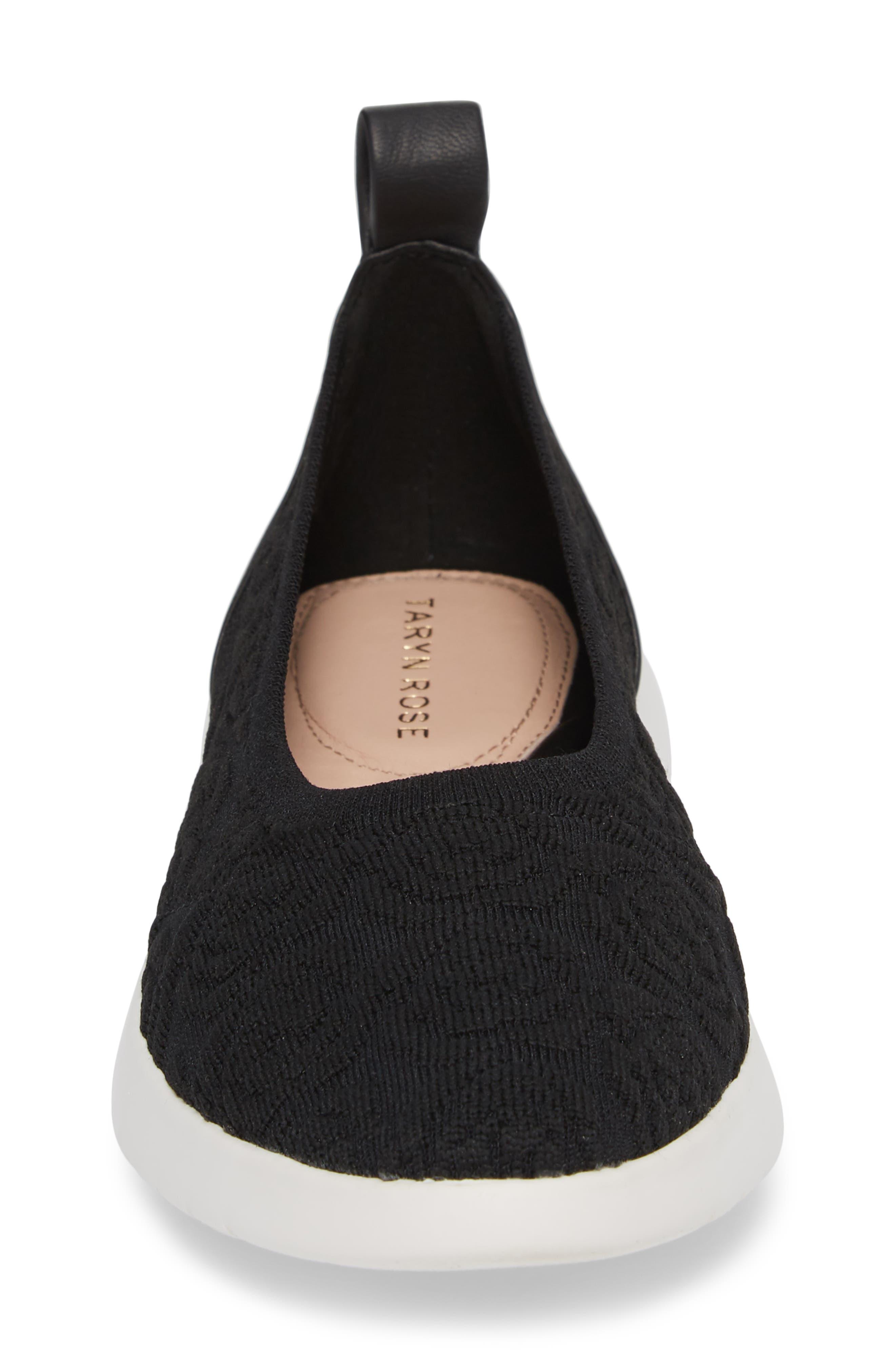 Daisy Flat,                             Alternate thumbnail 4, color,                             Black Knit Fabric